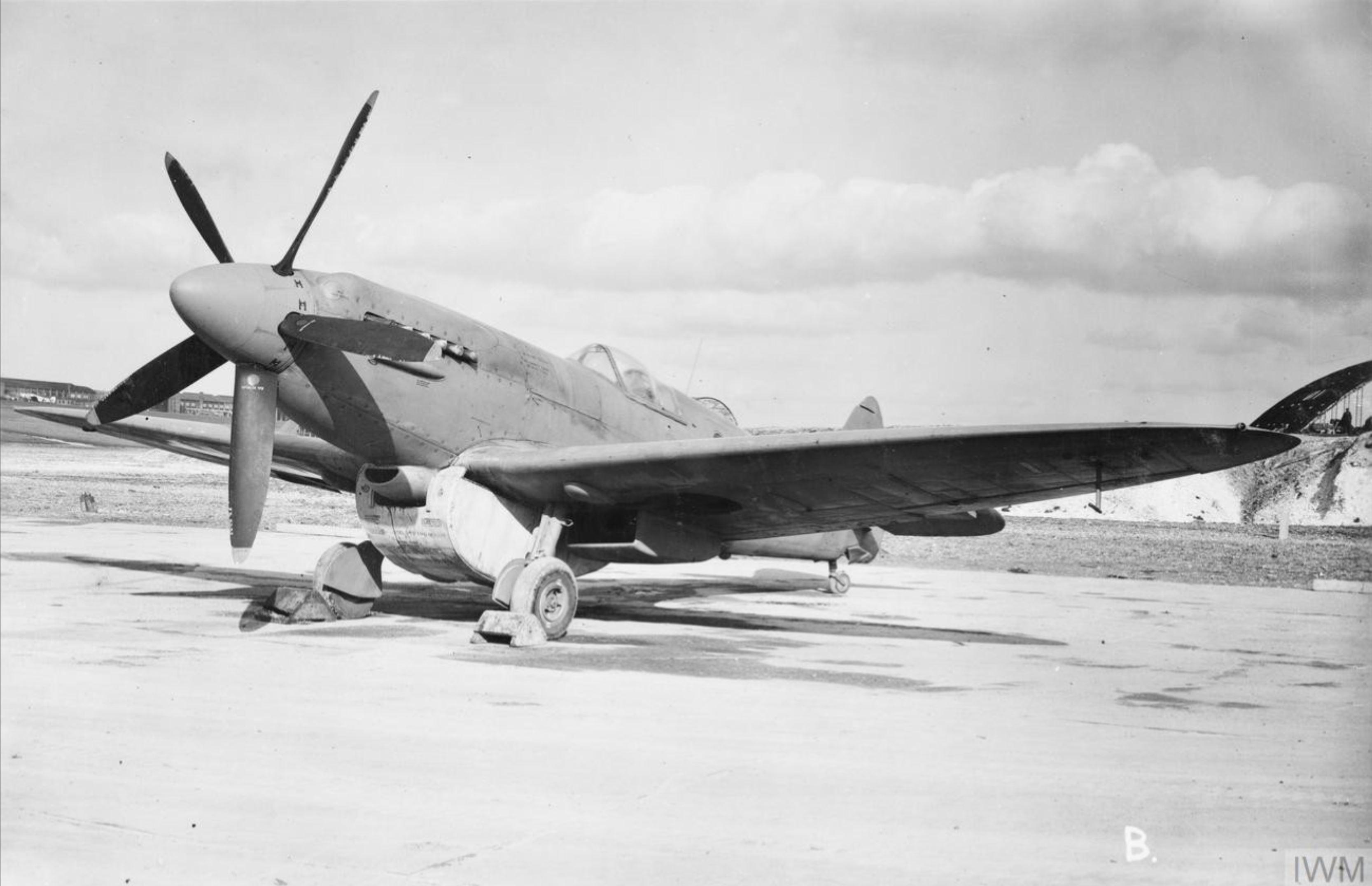 Spitfire PR19 Prototype with long range tank England May 1944 IWM MH5790