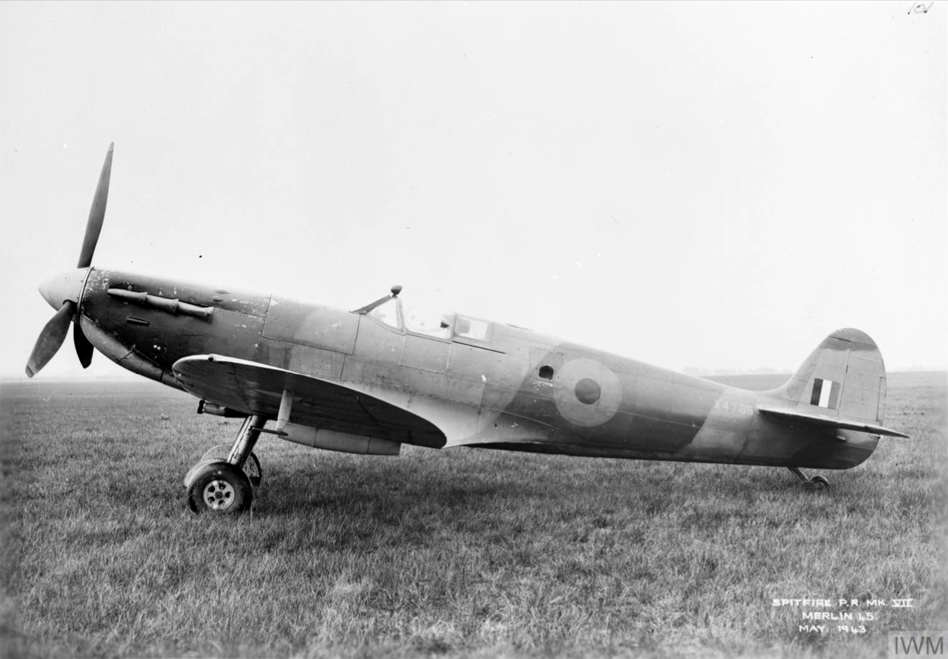 Spitfire PR7 Prototype X4786 side profile view England May 1943 IWM MH5108