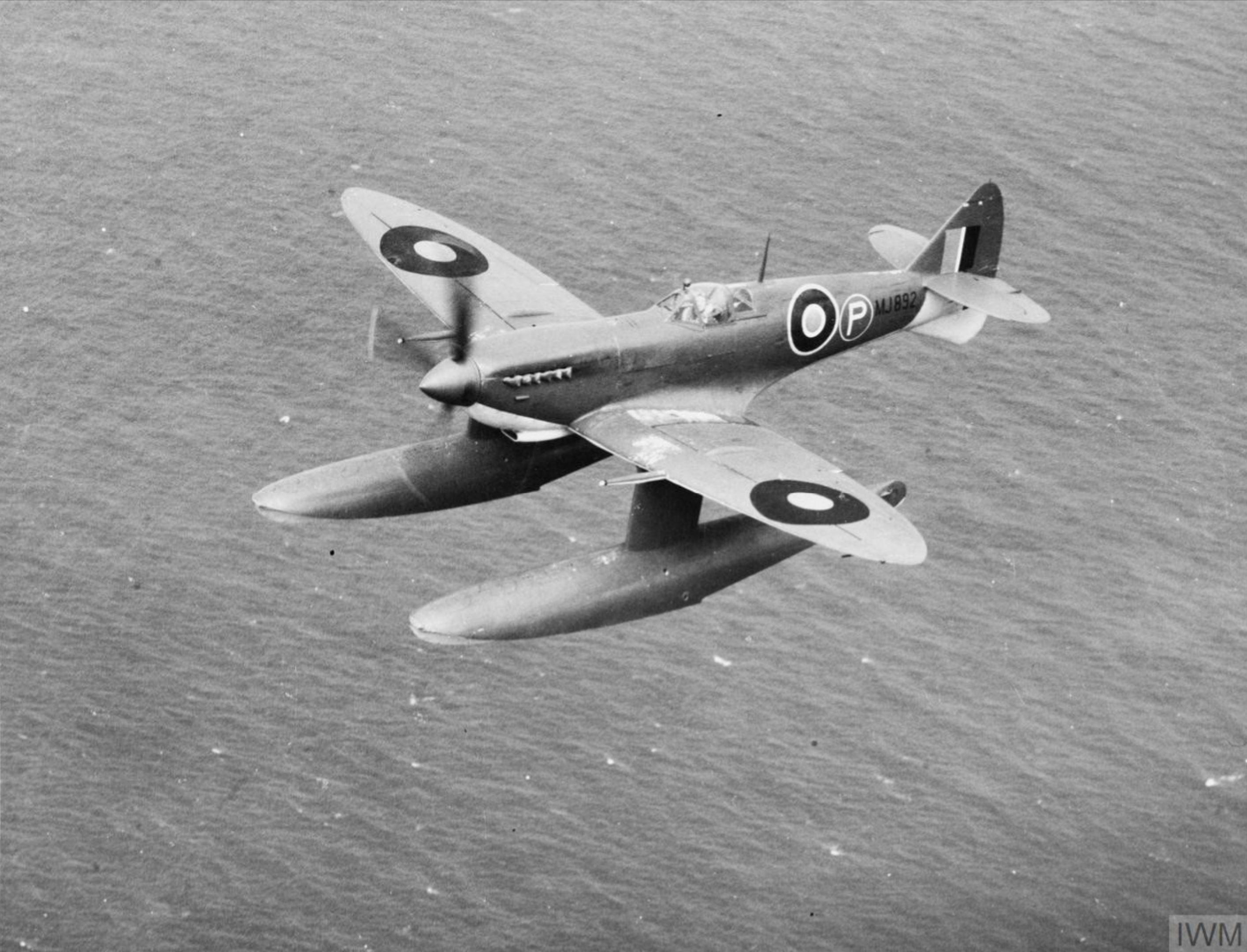 Spitfire Prototype 9 MJ892 floatplane in flight IWM HU1675
