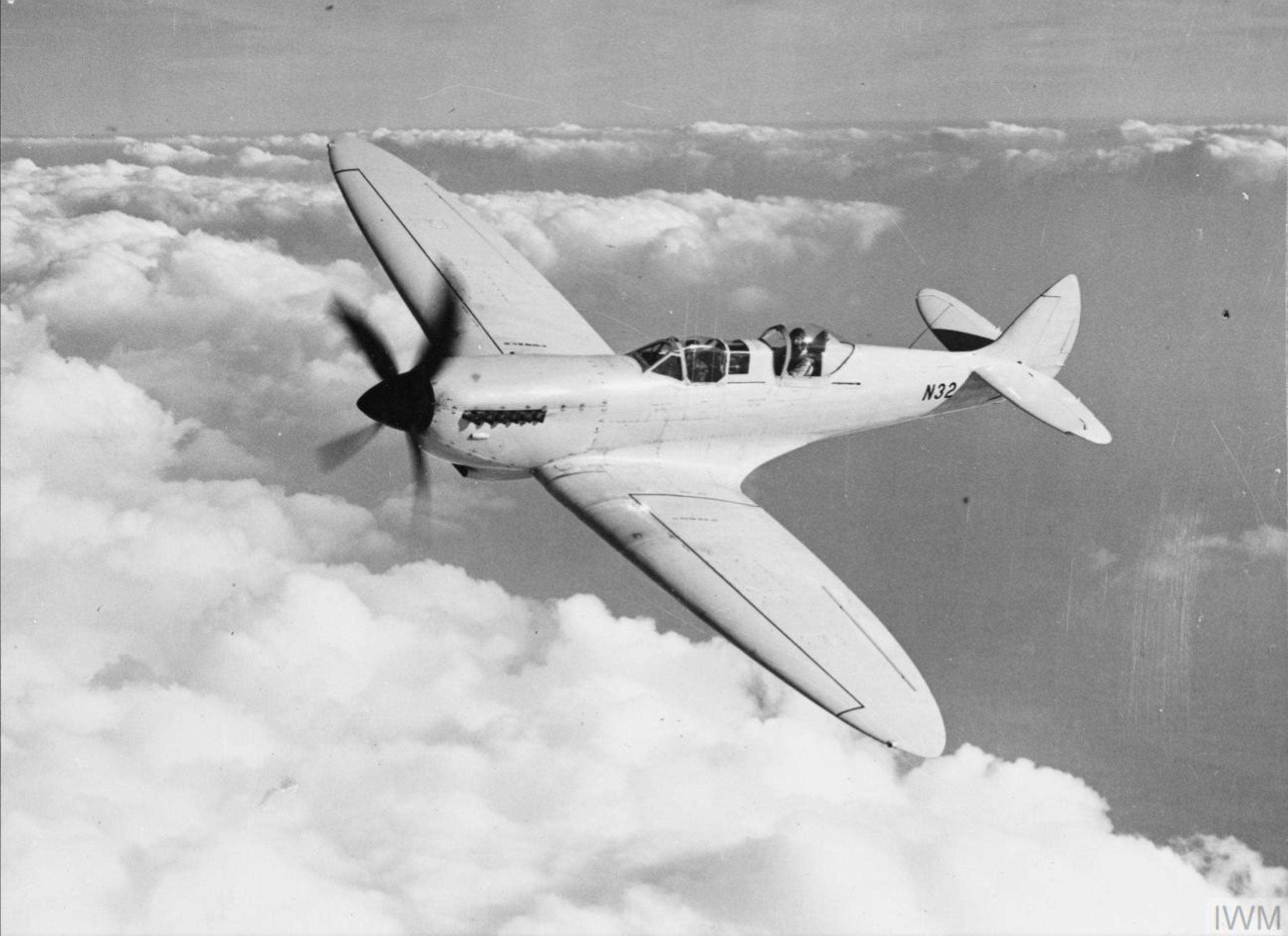 Spitfire T8 Prototype N32 in flight England IWM HU1674a