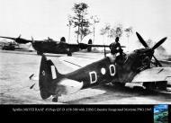 Asisbiz Spitfire MkVIII RAAF 452Sqn QYD A58 500 with 22BG Liberator foreground Mortotai PNG 1945