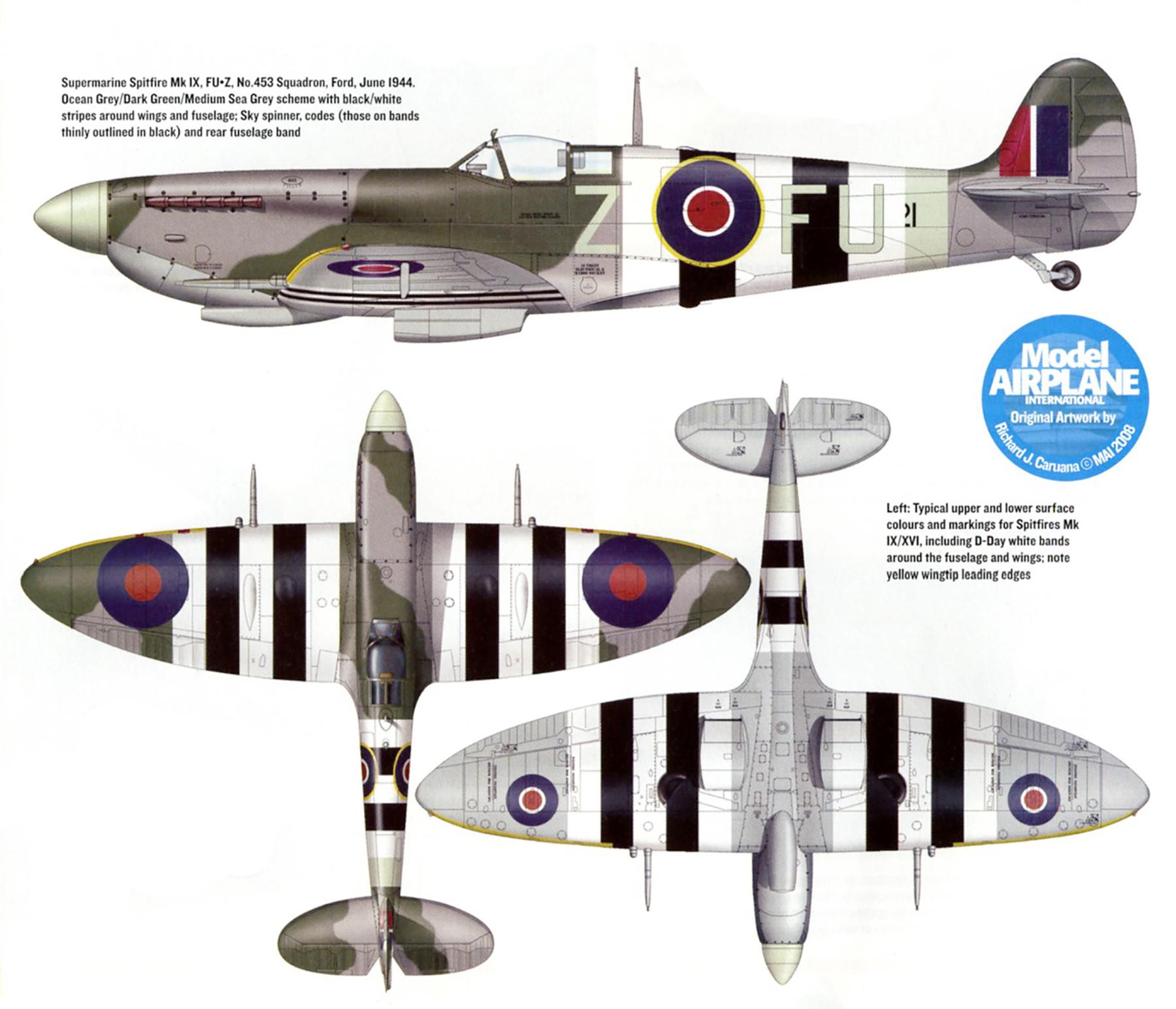 Spitfire MkIXc 2TAF RAAF 453Sqn FUZ Ford Jun Jul 1944 0A