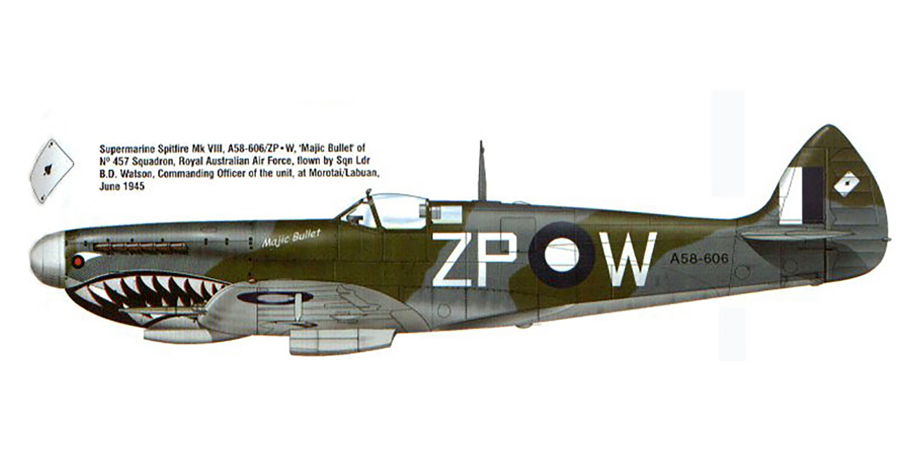 Spitfire LFVIII RAAF 457Sqn ZPW A58 606 BD Watson Morotai 1945 0A