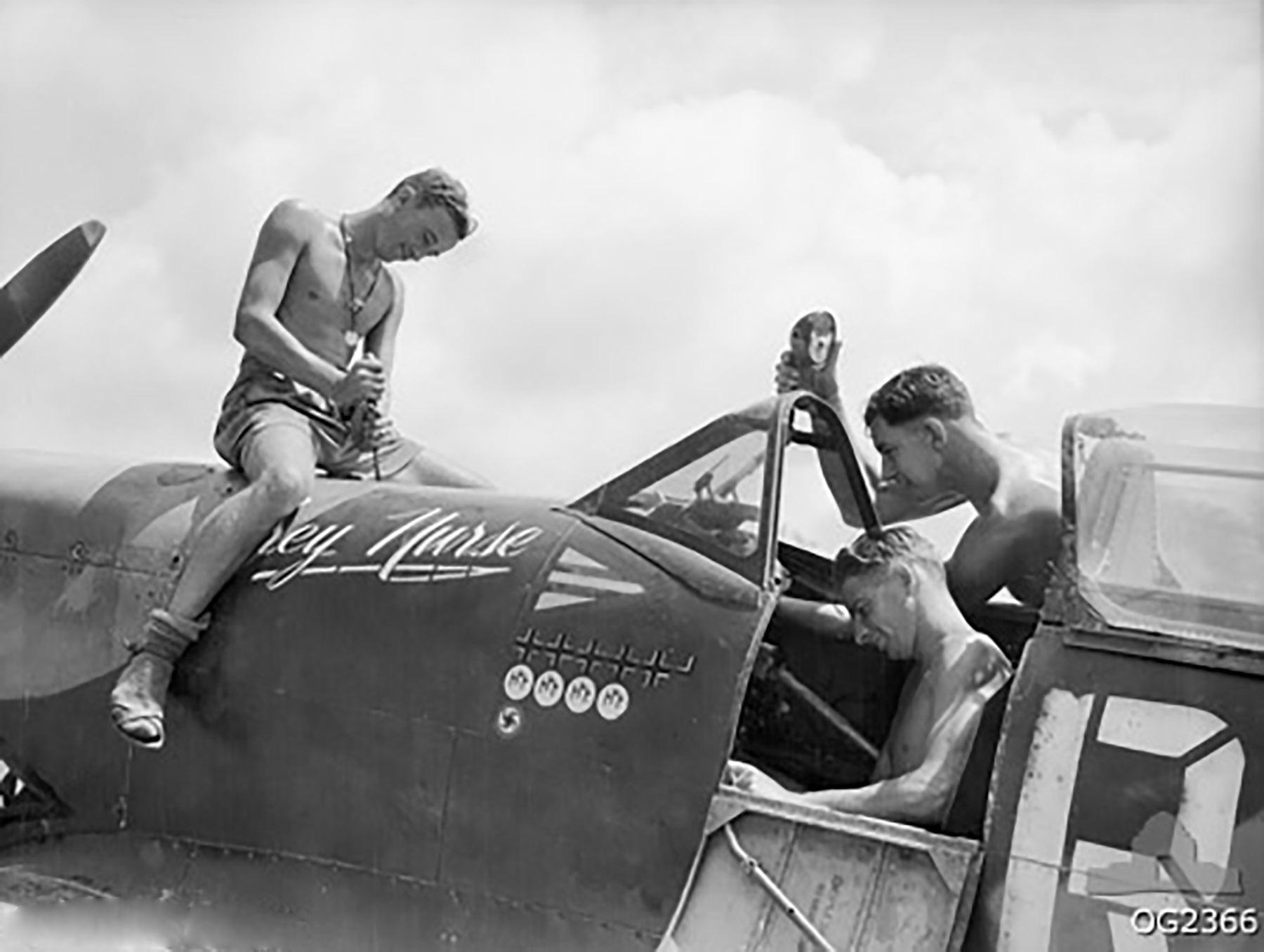 Spitfire MkVIII RAAF 1TAF RGV Gibbs A58 602 Morotai 1945 01