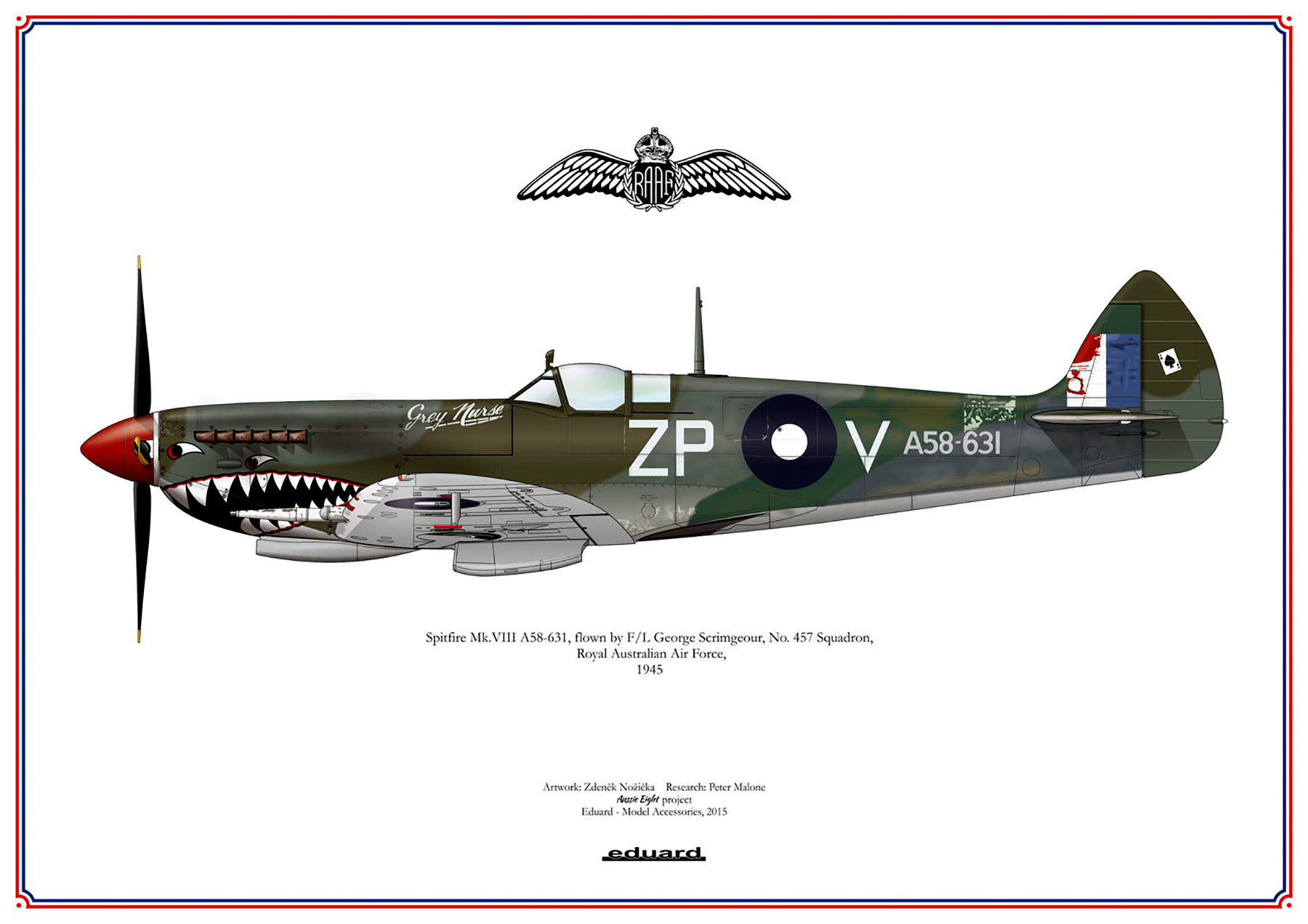Spitfire MkVIII RAAF 457Sqn ZPV G Scrimgeour A58 631 Darwin 1945 0A