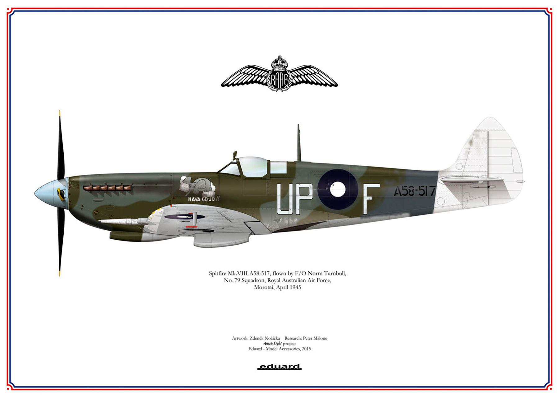 Spitfire LFVIII RAAF 79Sqn UPF Norman Smithell A58 517 Morotai 1945 0B