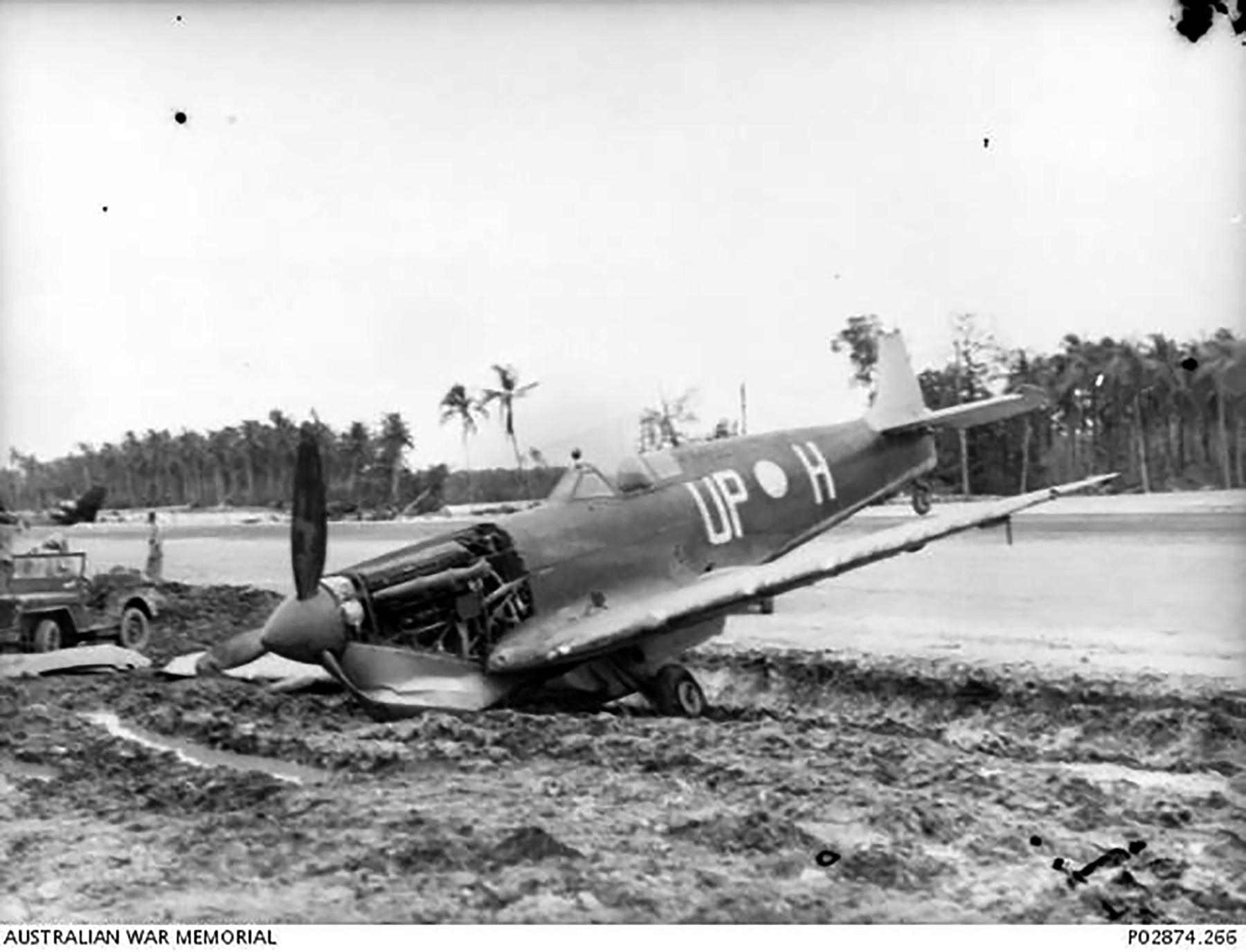 Spitfire MkVc RAAF 79Sqn UPH A58 167 at PNG 19 Apr 1944 IWM 01