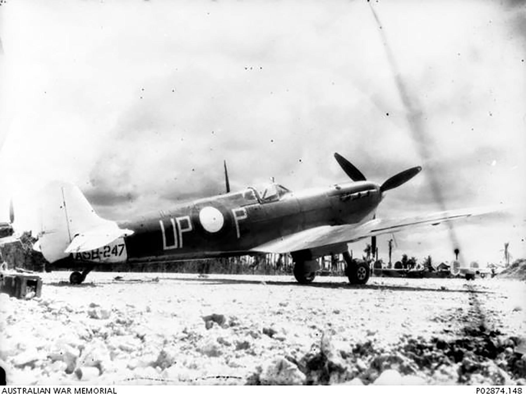 Spitfire MkVc RAAF 79Sqn UPP A58 247 dispersal area Los Negros July 1944 IWM 01