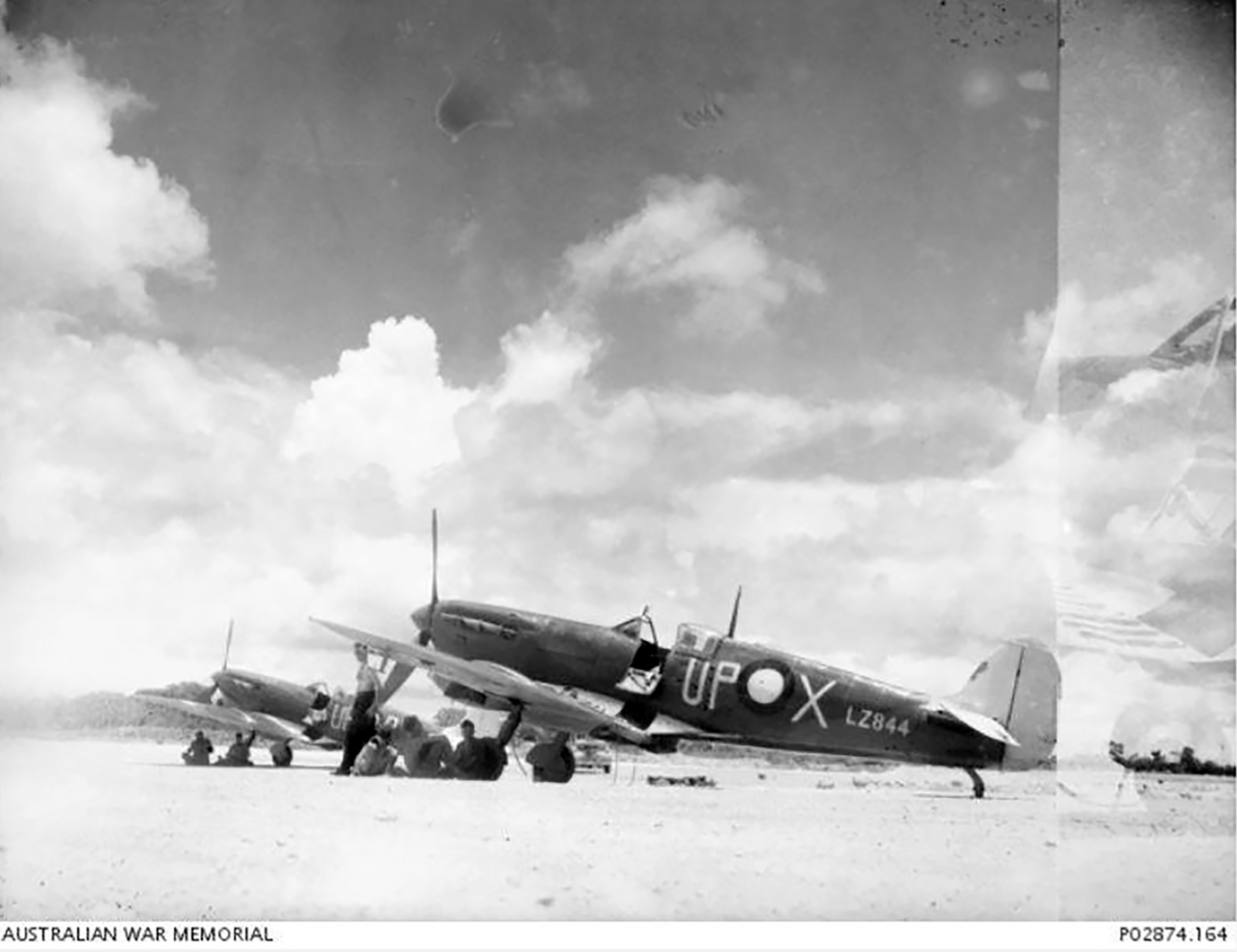 Spitfire MkVc RAAF 79Sqn UPX A58 213 UPP A58 17 at Kiriwina Jan 1944 IWM 01