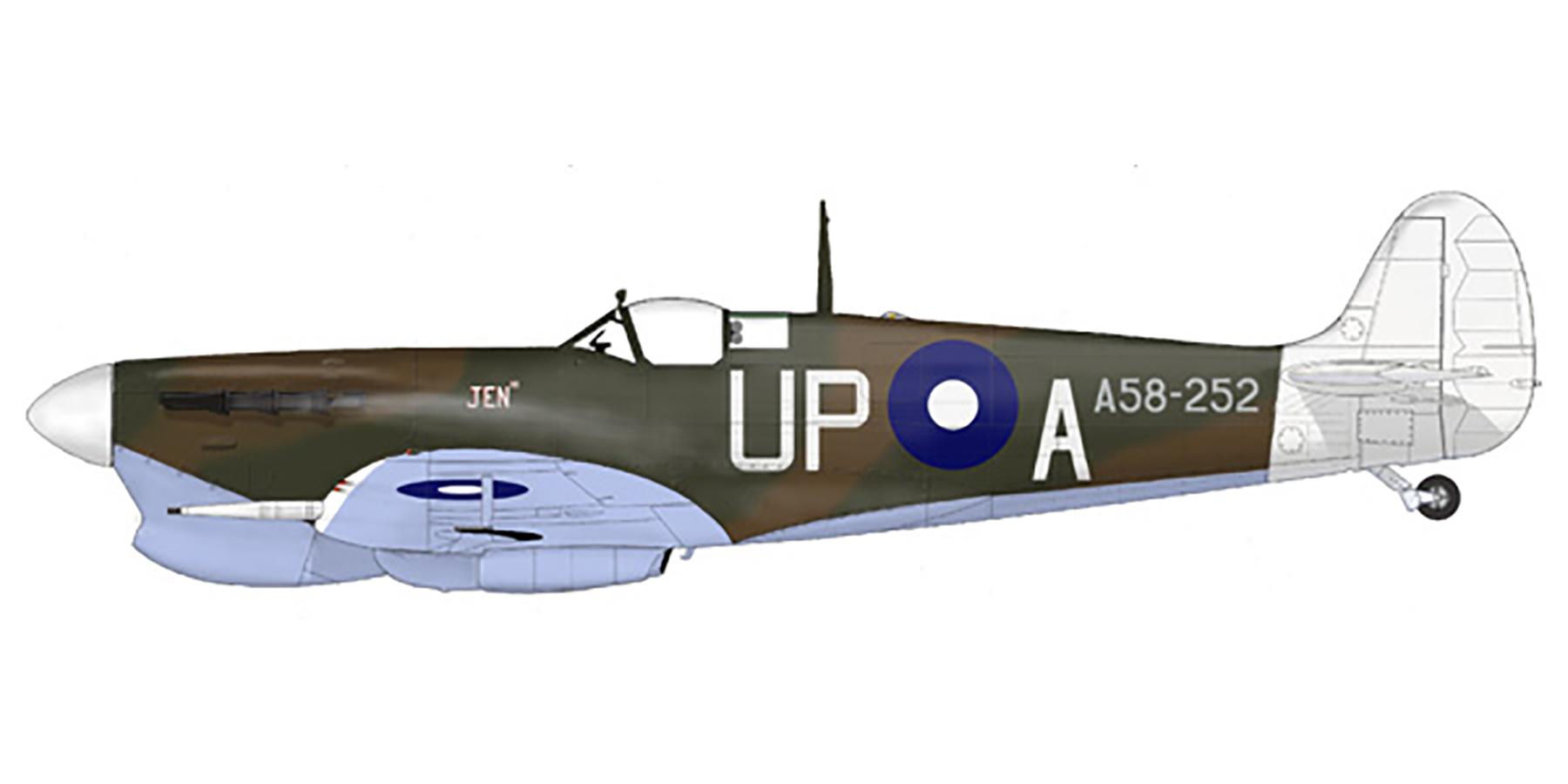 Spitfire MkVcTrop RAAF 79Sqn UPA Stan Galton A58 252 Los Negros Island 1944 0A