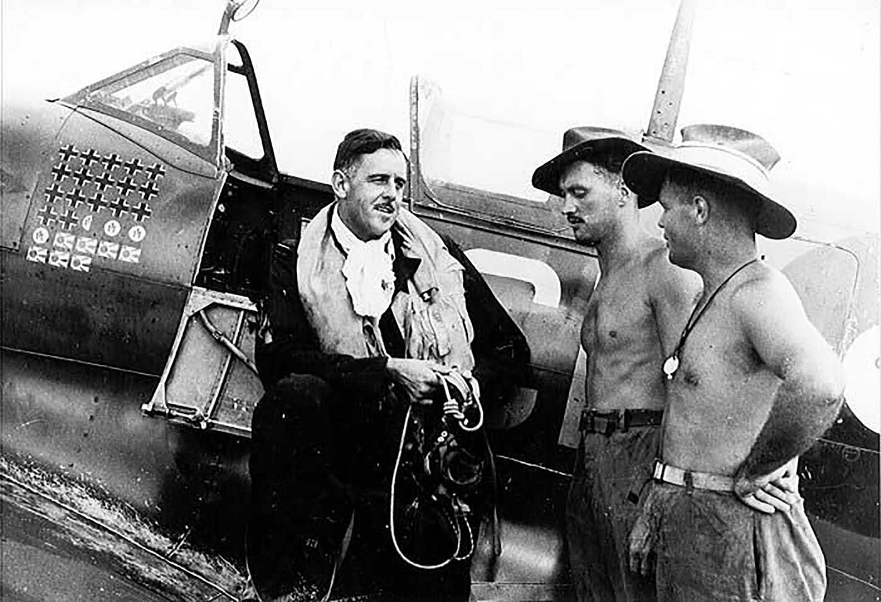 Aircrew RAAF Grp Capt Clive R Caldwell Morotai 1944 01