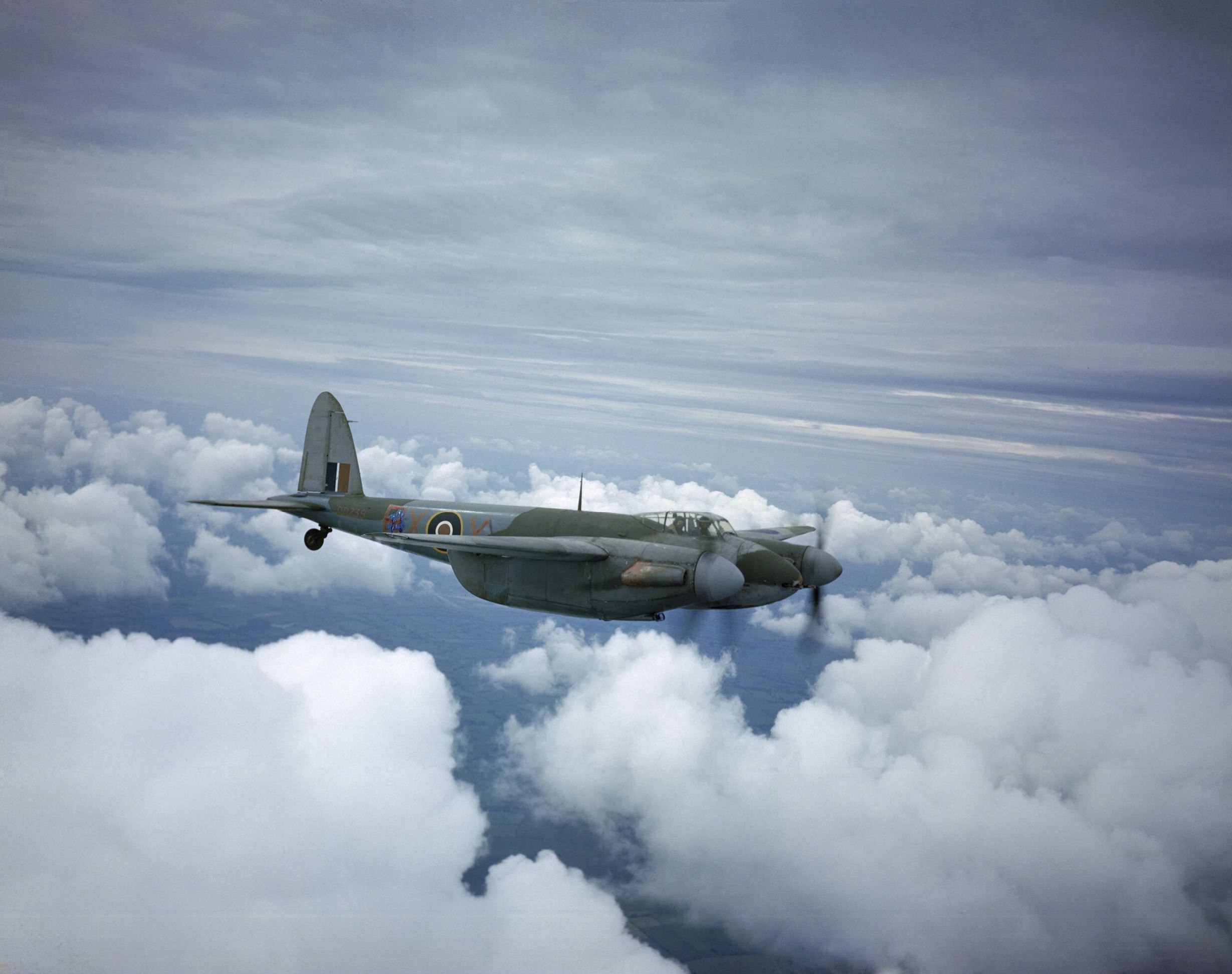 Mosquito IIF RAAF 456Sqn RXX DD739 flying from Middle Wallop Hampshire 1943 IWM TR1090