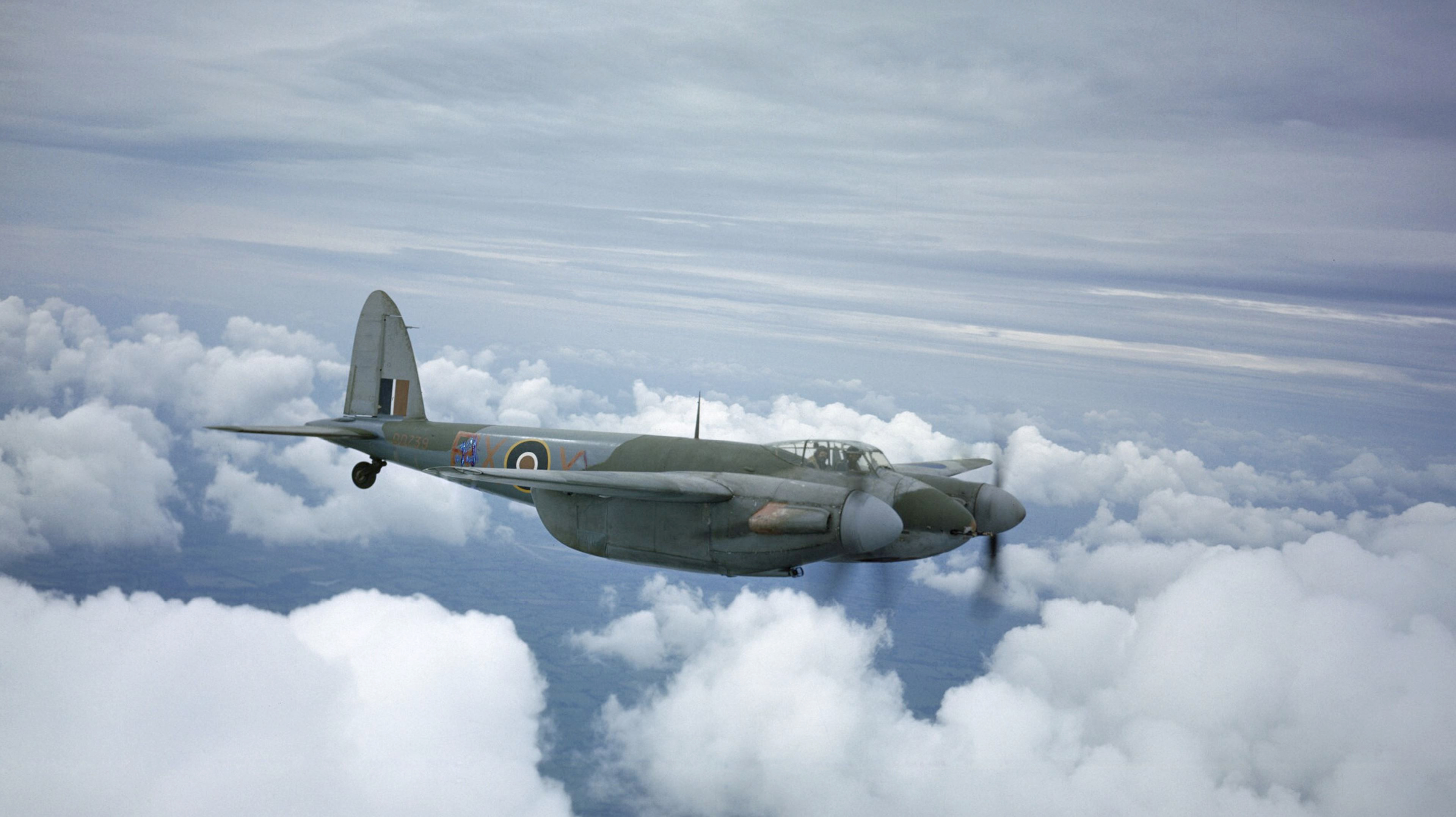 Mosquito IIF RAAF 456Sqn RXX DD739 flying from Middle Wallop Hampshire 1943 IWM TR1090a