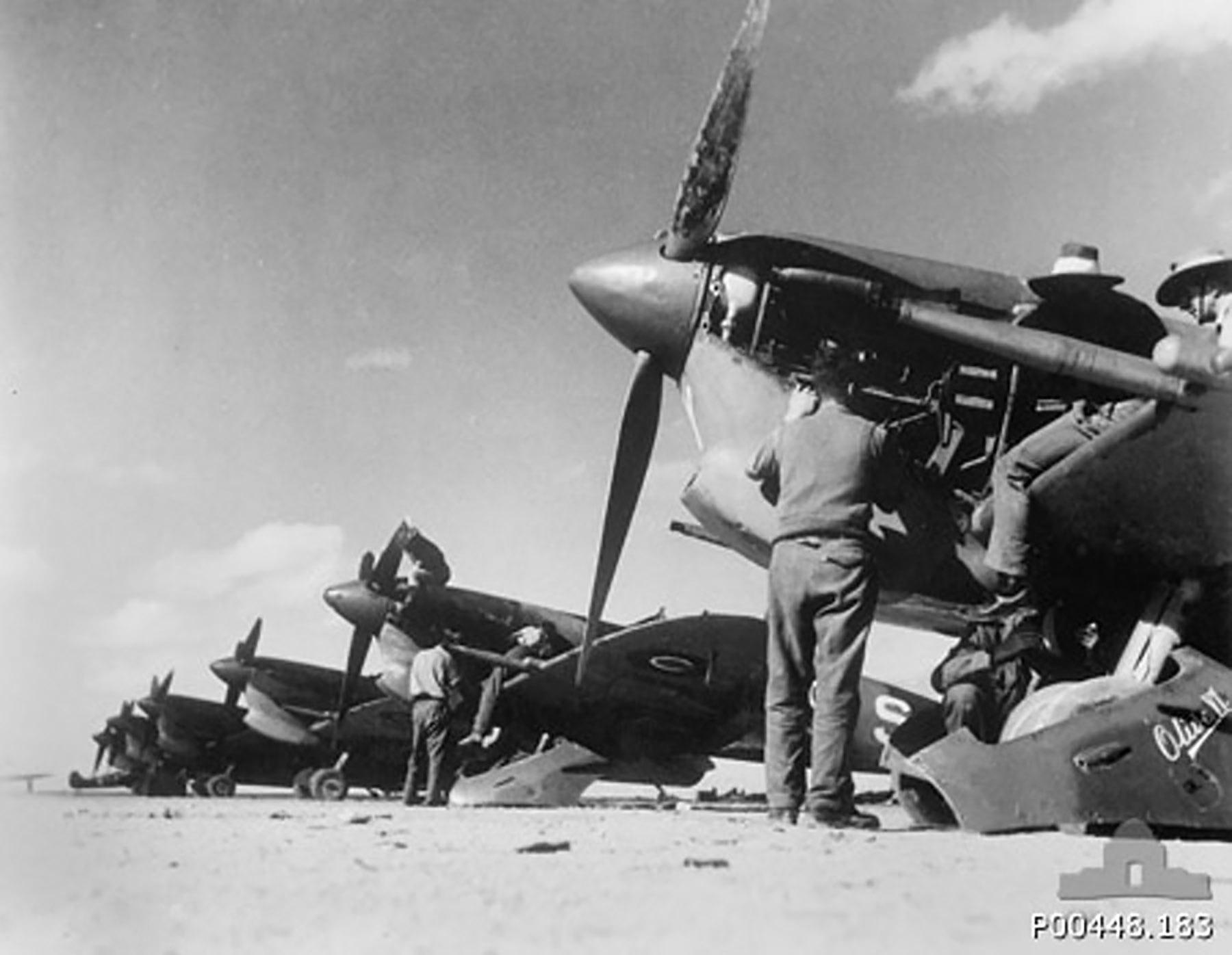 Spitfire MkVcTrop RAAF 451Sqn being serviced El Daba Egypt 1943 01