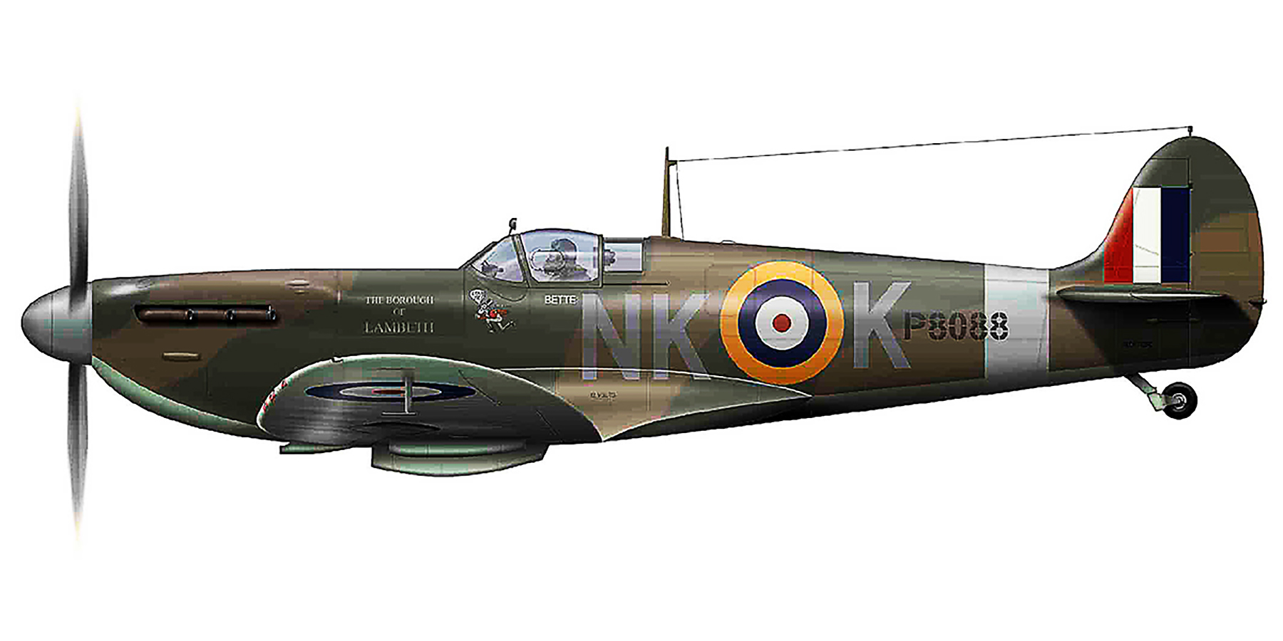 Spitfire MkIa RAF 118Sqn NKK P8088 Lumsden in Ibsley May 1941 0A