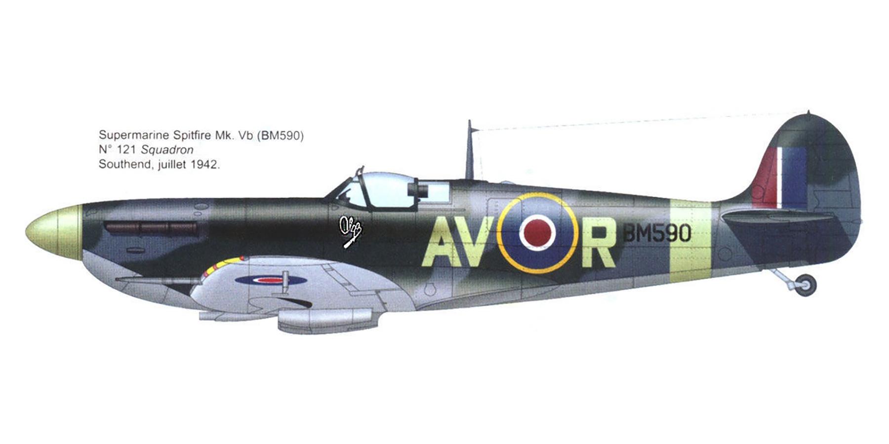 Spitfire MkVb RAF 121Sqn AVR Olga BM590 Debden Essex 1941 0A