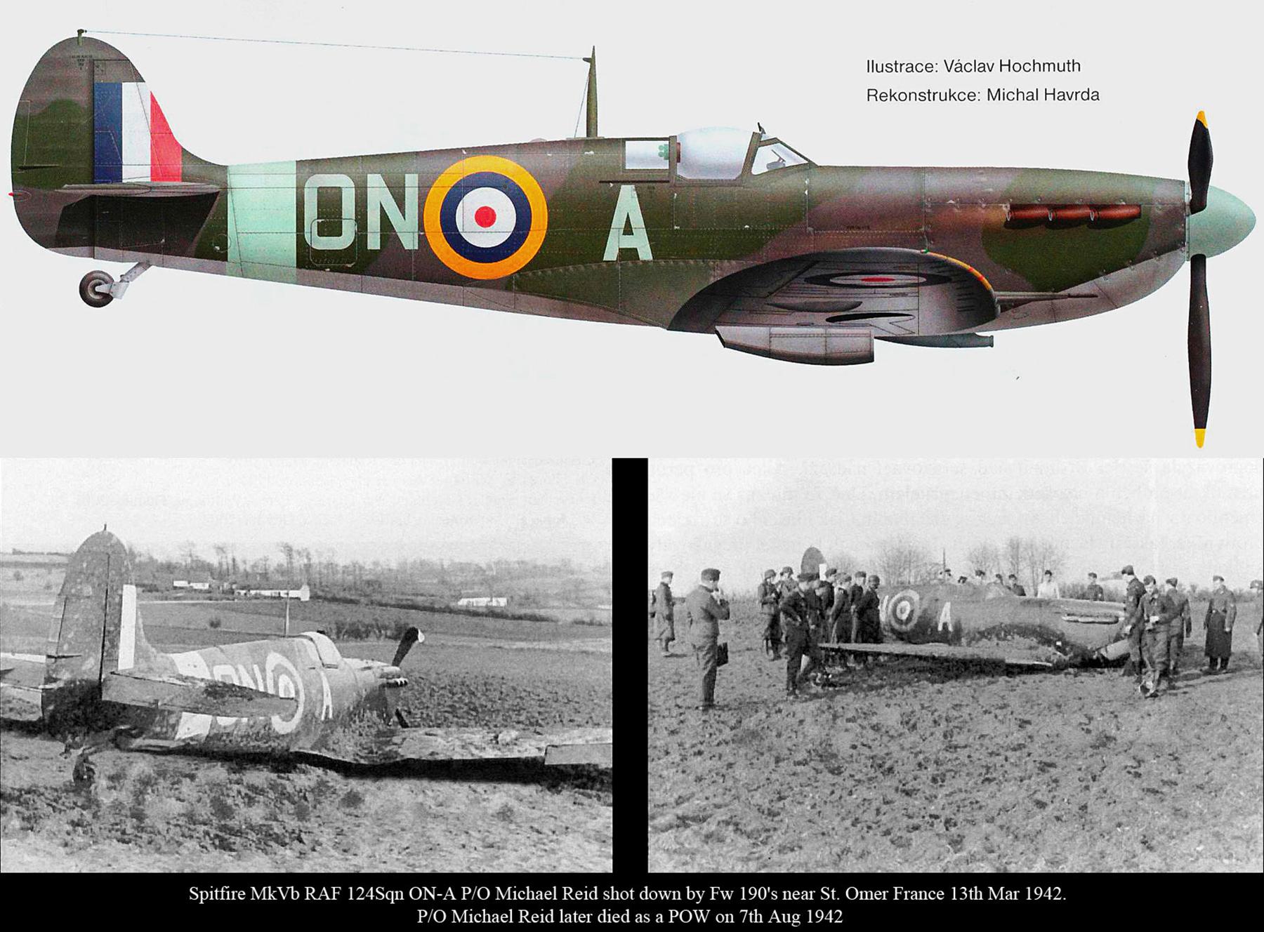 Spitfire MkVb RAF 124Sqn ONA Michael Reid shot down by Fw190s nr St.Omer 13th Mar 1942 0A