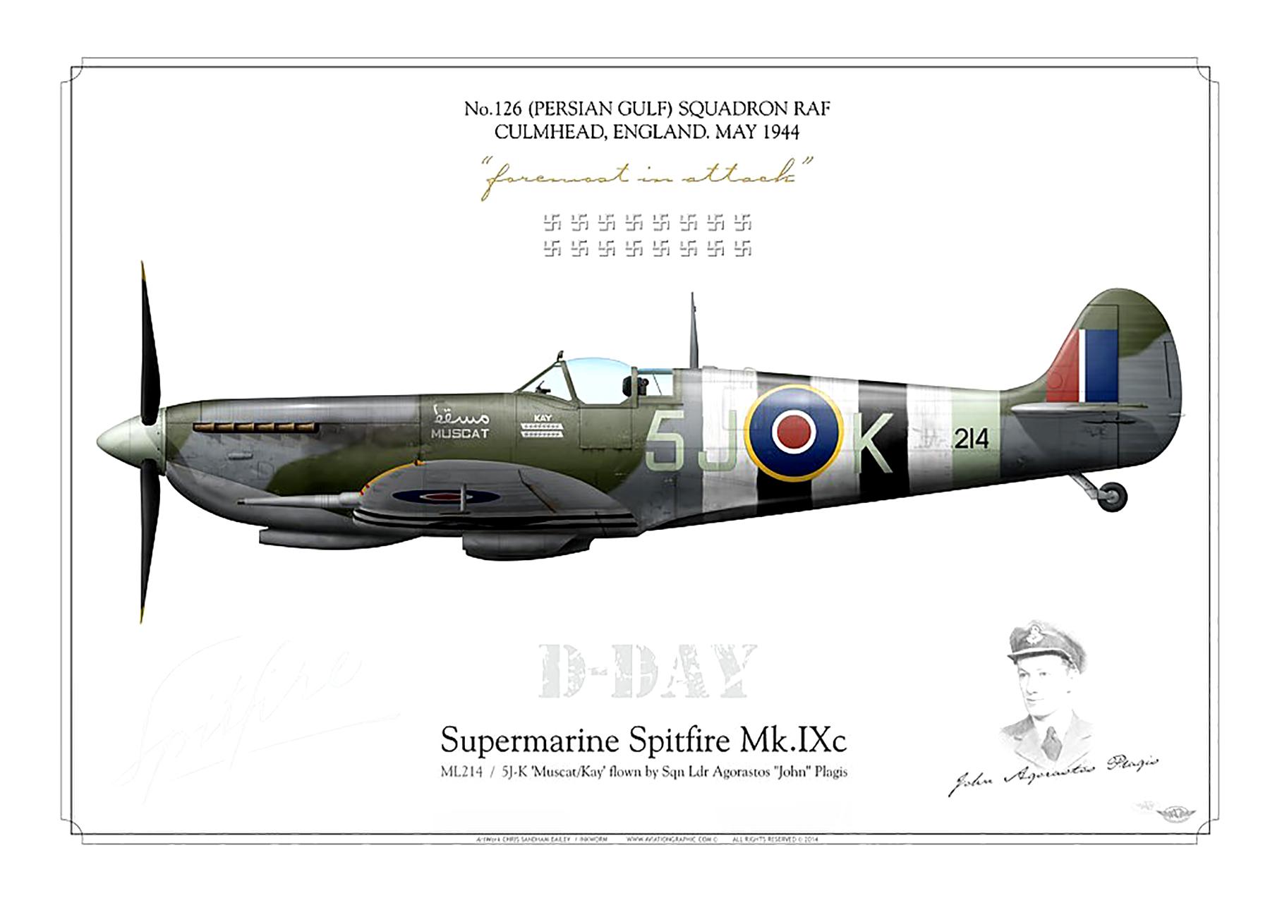 Spitfire MkIX RAF 126Sqn 5JK SqnLdr Agorastos John Plagis Culmhead May 1944 0A