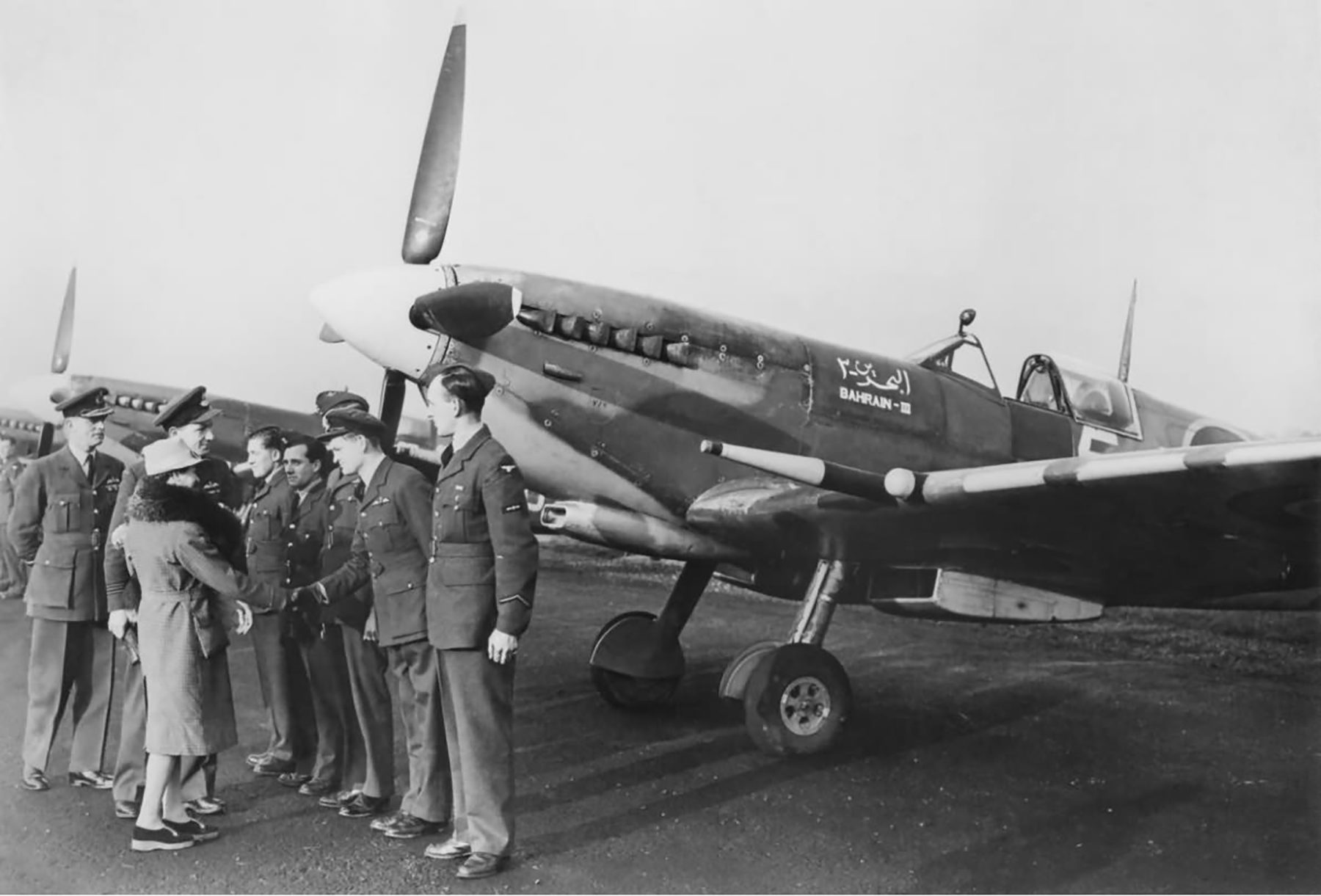 Spitfire MkIX RAF 126Sqn 5K named Bahrain III in a line up at Bradwell Bay on 11 Dec 1944 web 01