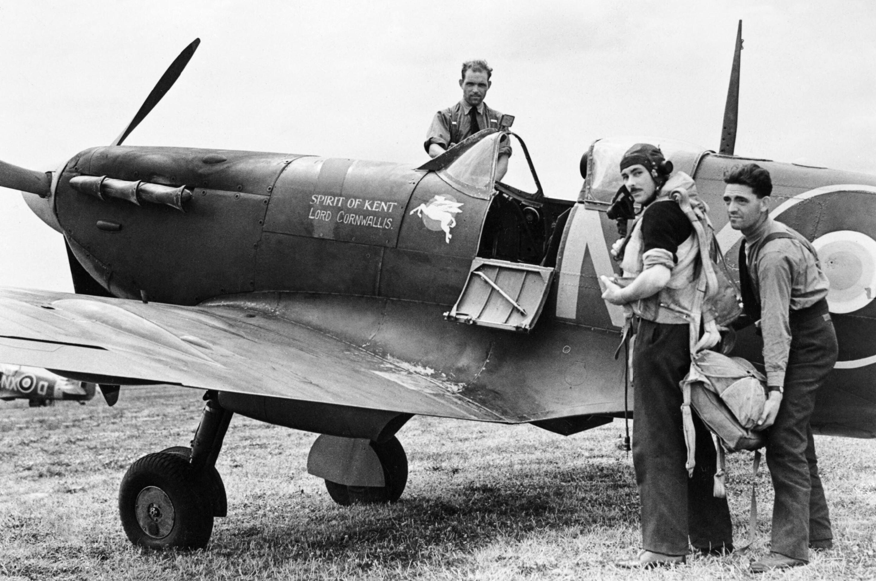 Spitfire MkVb RAF 131Sqn NXA with NG Pedley at Merston Sussex IWM CH5883
