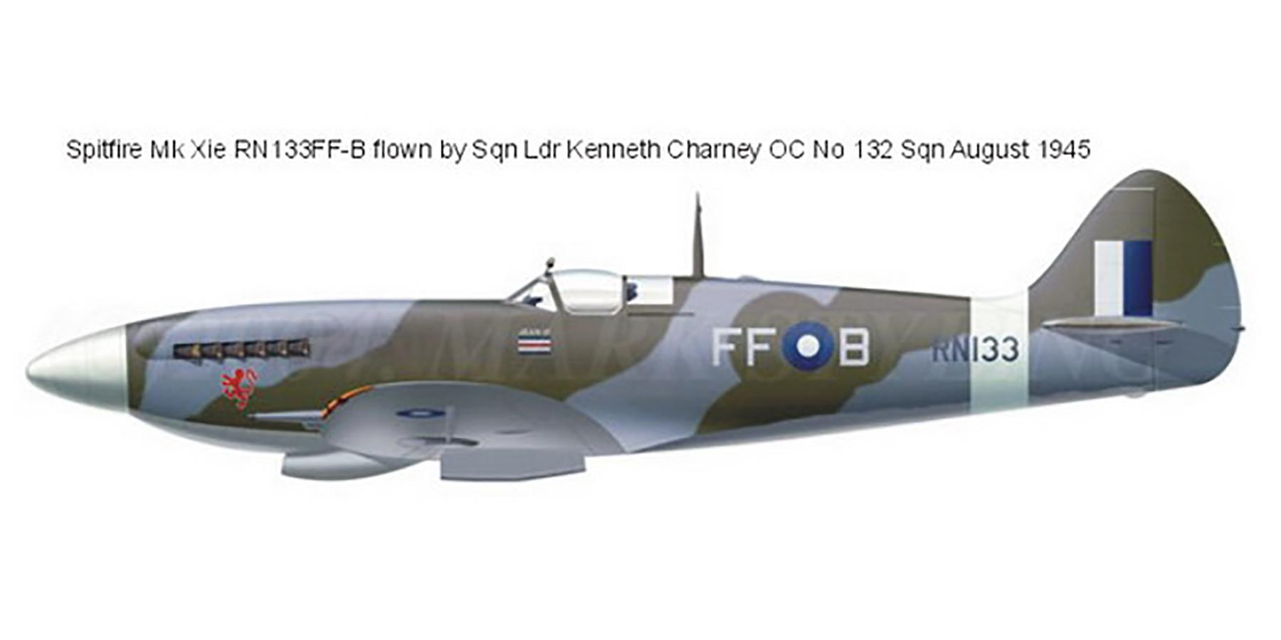 Spitfire XVI RAF 132Sqn FFB Lenneth Charney RN133 India Aug 1945 0A