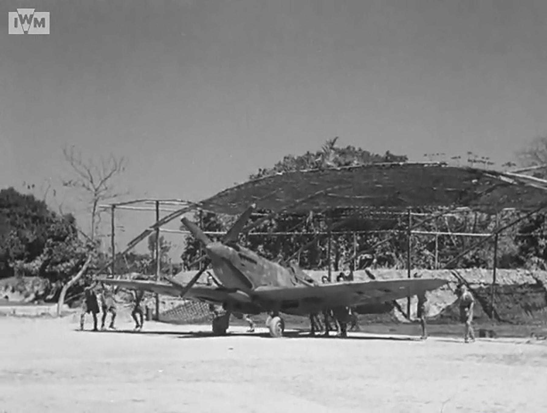 Spitfire VIII RAF 136Sqn HM being pushed out for take off from Rumkhapalong Bangladesh CBI 1944 IWM 01
