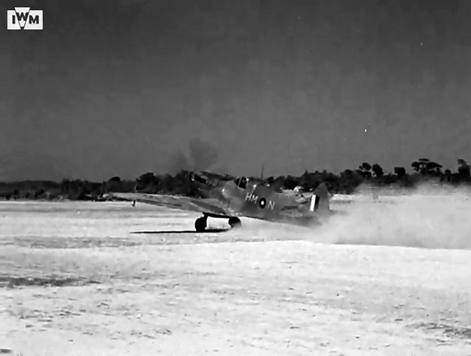 Spitfire VIII RAF 136Sqn HMN taking off from Rumkhapalong operating over Burma CBI 1944 IWM 01