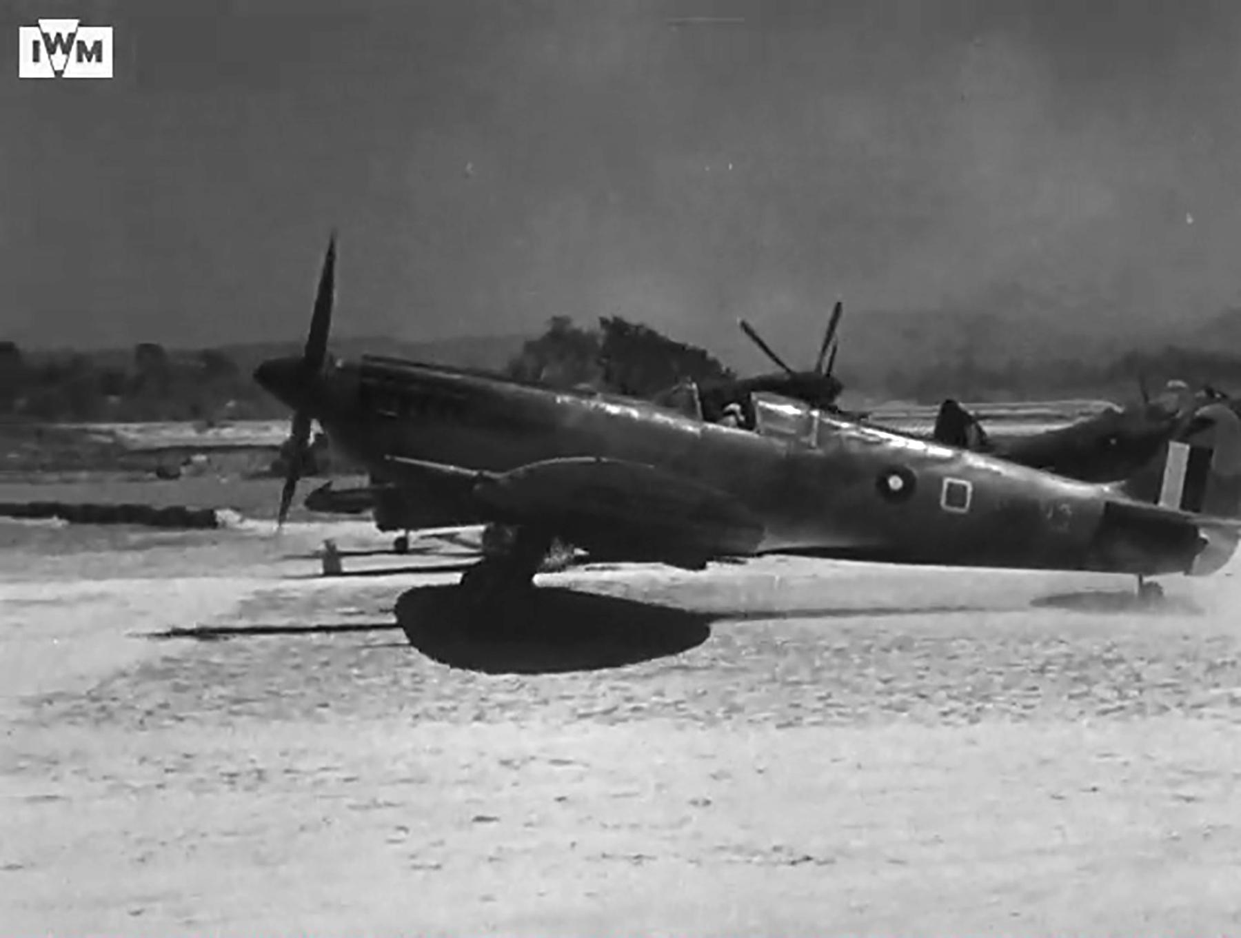 Spitfire VIII RAF 136Sqn HMO taking off from Rumkhapalong operating over Burma CBI 1944 IWM 02