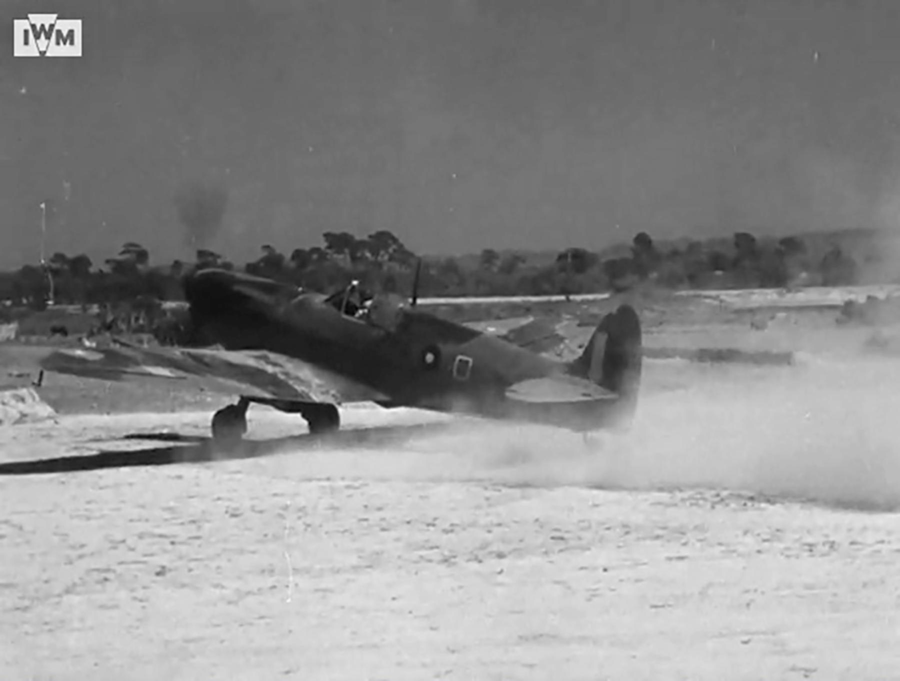 Spitfire VIII RAF 136Sqn HMO taking off from Rumkhapalong operating over Burma CBI 1944 IWM 03