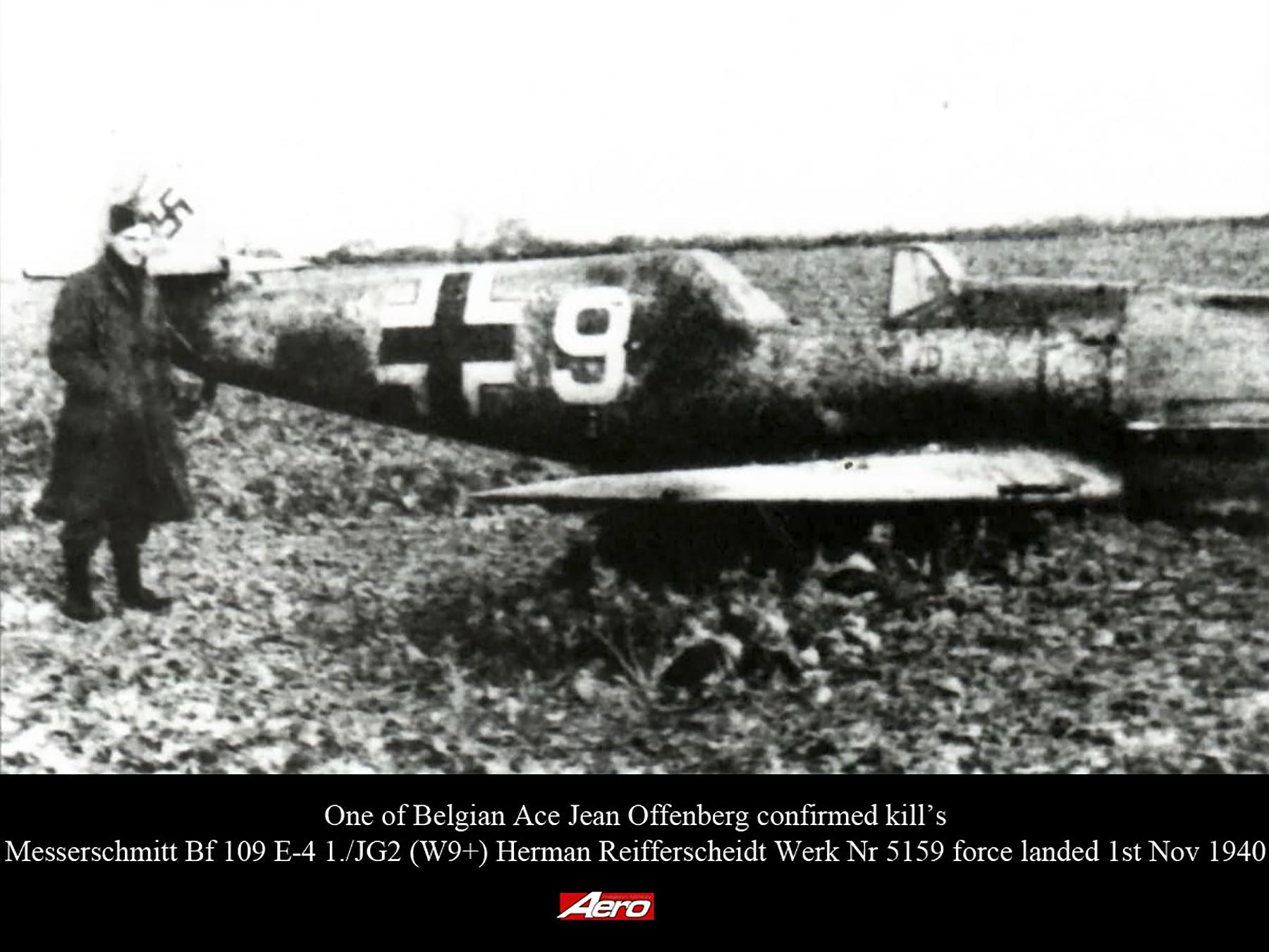 Downed Bf 109E4 1.JG2 (W9+) Herman Reifferscheidt Werk Nr 5159 force landed 1st Nov 1940