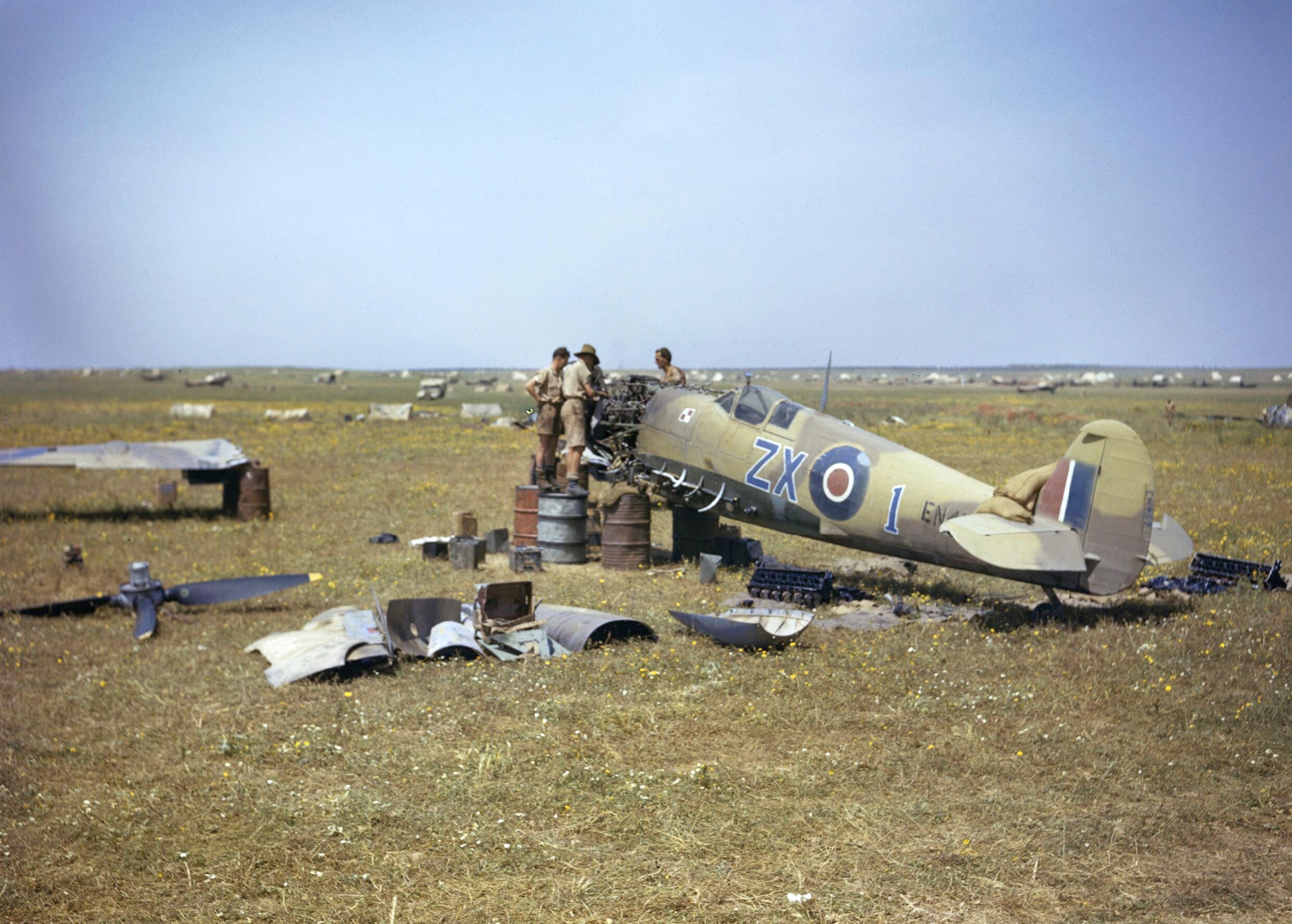 Spitfire MkIX RAF 145Sqn ZX1 EN459 at Gabes Tunisia April 1943 IWM TR1008