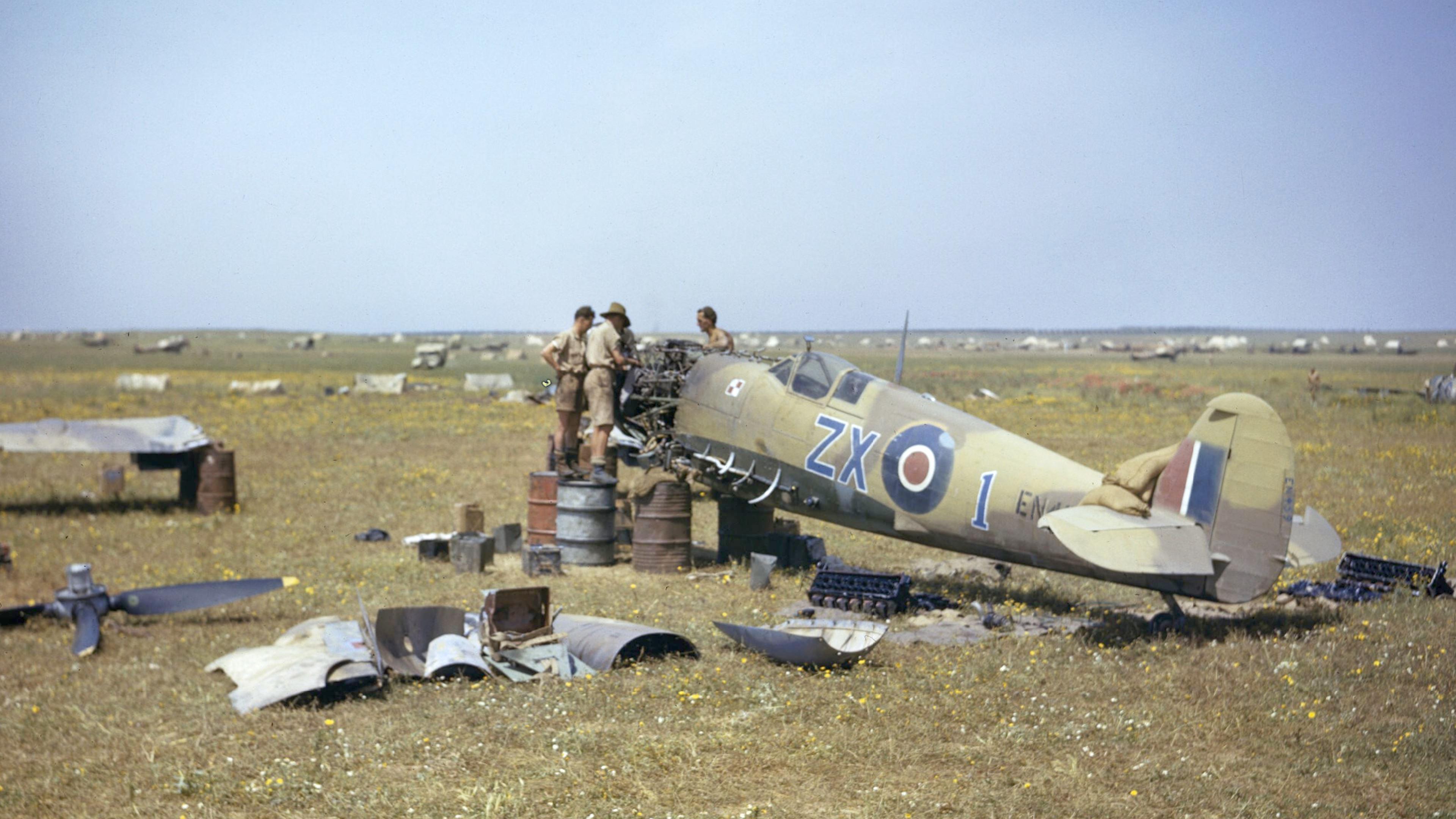 Spitfire MkIX RAF 145Sqn ZX1 EN459 at Gabes Tunisia April 1943 IWM TR1008a