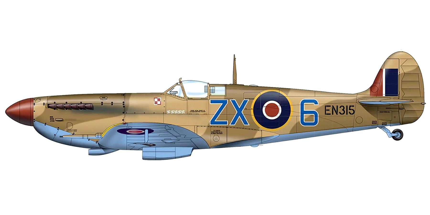 Spitfire MkIXc RAF 145Sqn ZX6 EN315 Stanislaw Skalski at Tunisia Apr 1943 0A