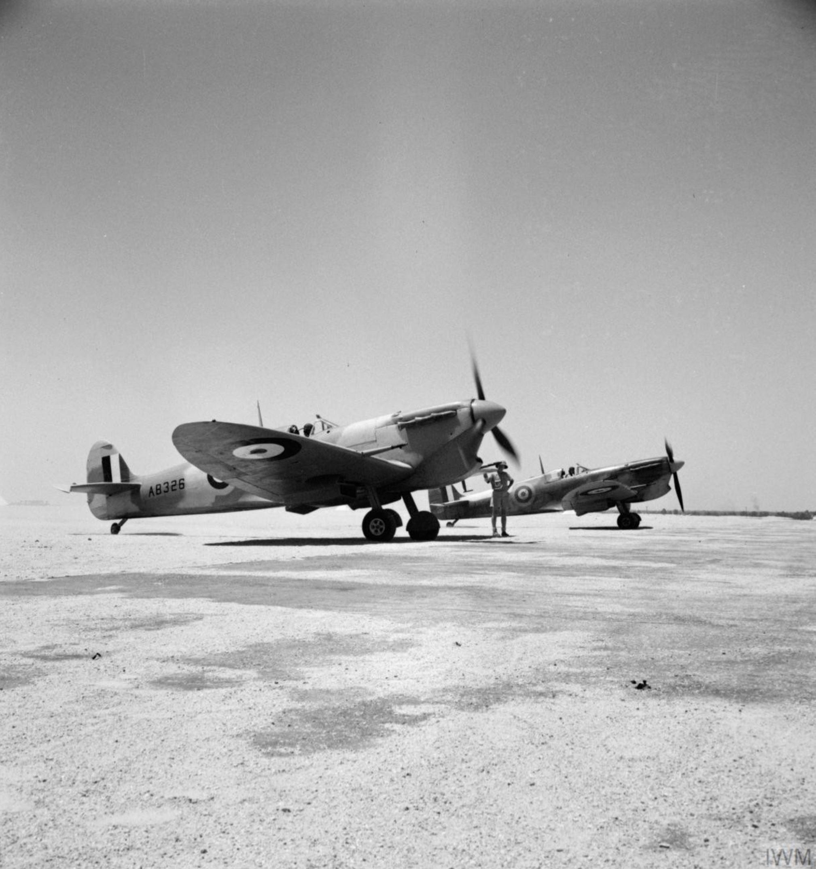 Spitfire MkVbTrop RAF 145Sqn AB326 and AB345 at Helwan Egypt May 1942 IWM CM2856