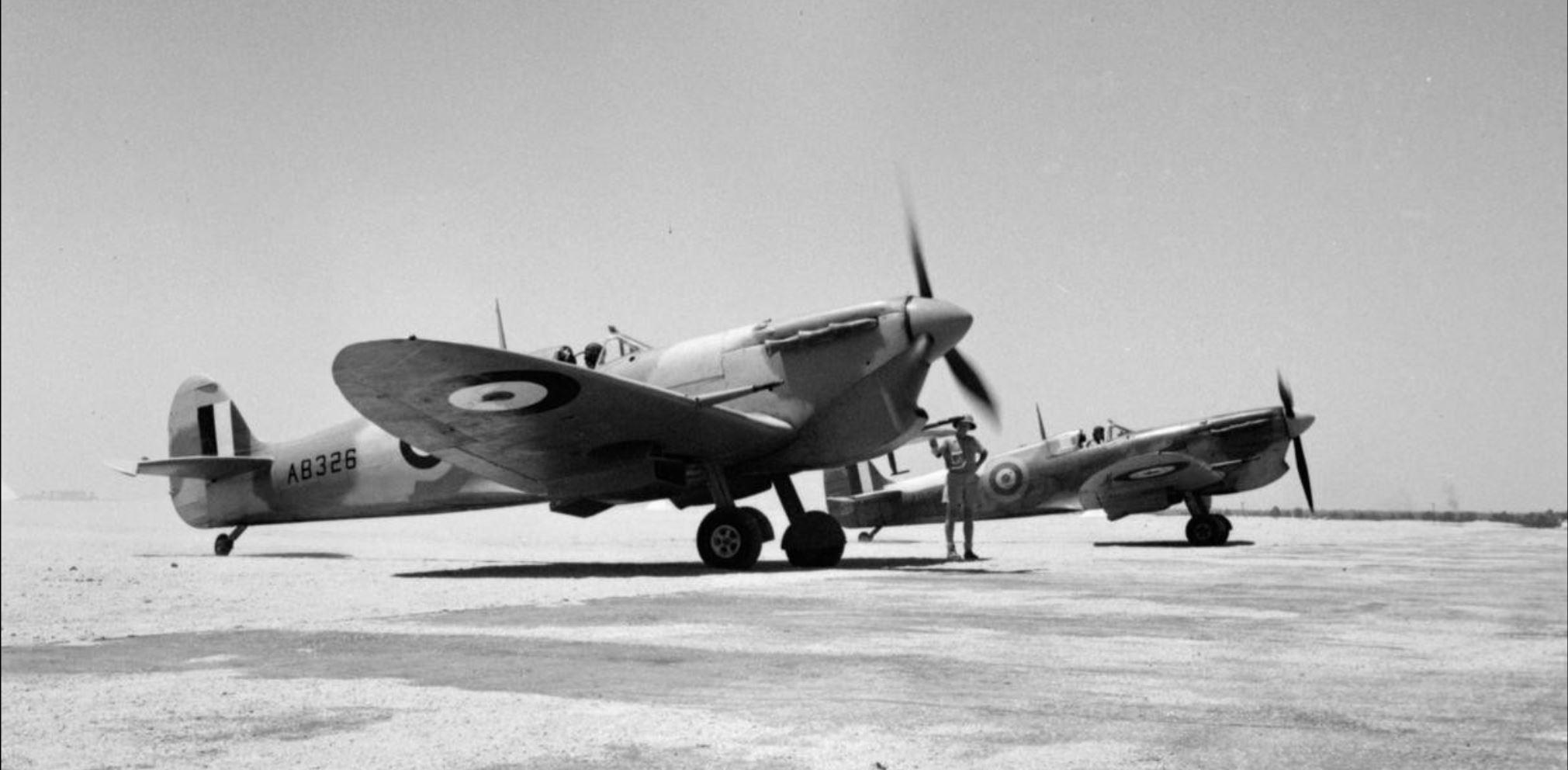 Spitfire MkVbTrop RAF 145Sqn AB326 and AB345 at Helwan Egypt May 1942 IWM CM2856a