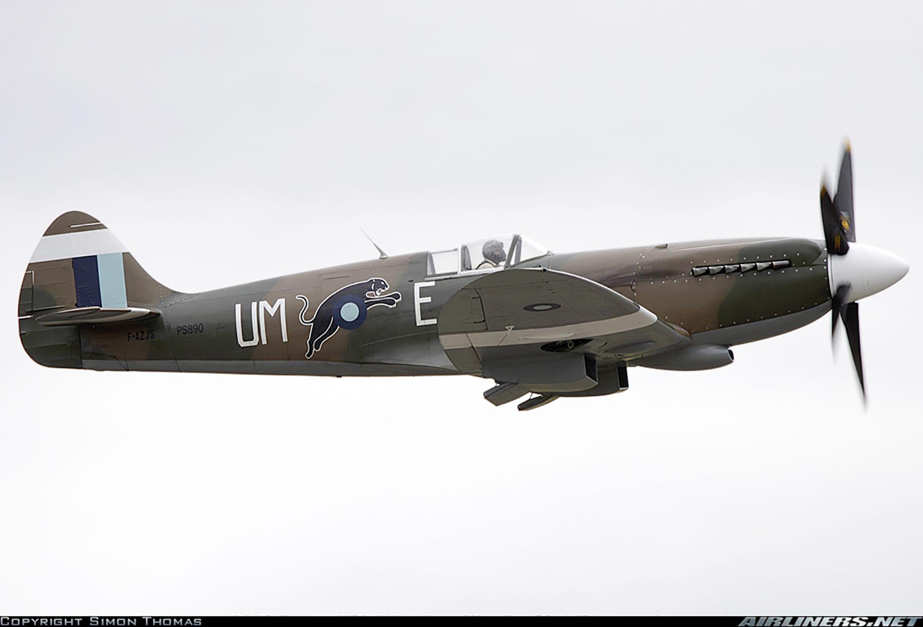 Airworthy Spitfire warbird PR19 PS890 as RAF 152Sqn UME 07
