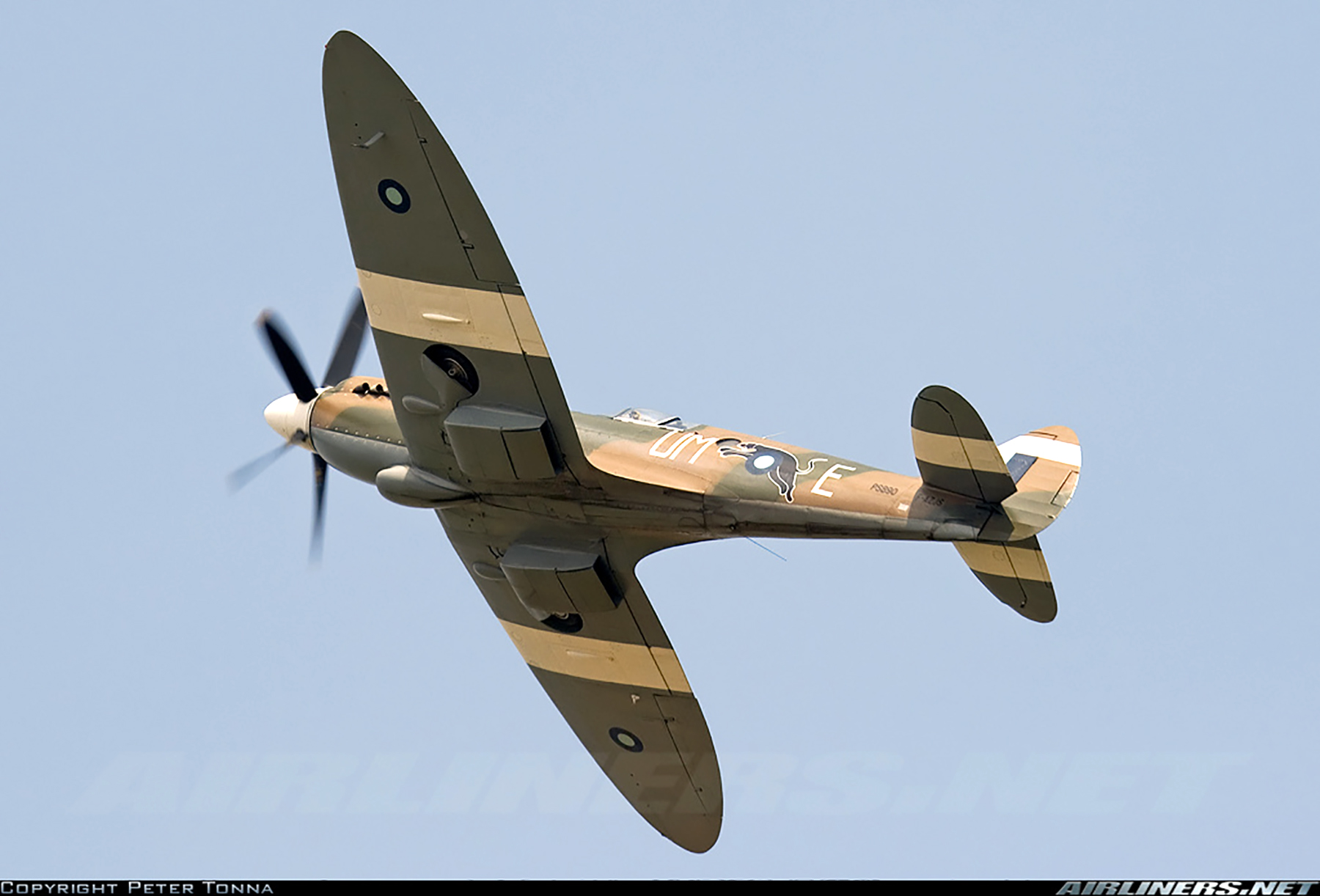 Airworthy Spitfire warbird PR19 PS890 as RAF 152Sqn UME 11