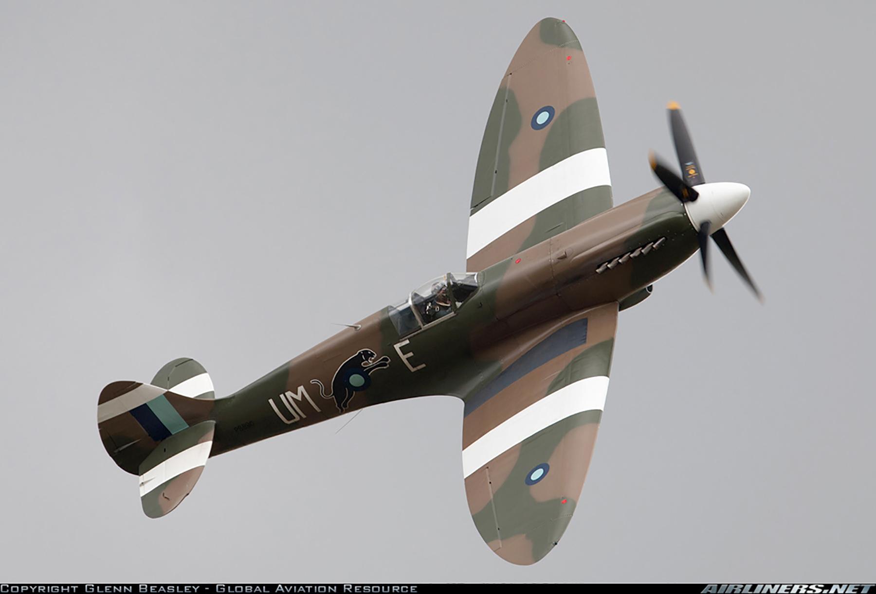 Airworthy Spitfire warbird PR19 PS890 as RAF 152Sqn UME 12