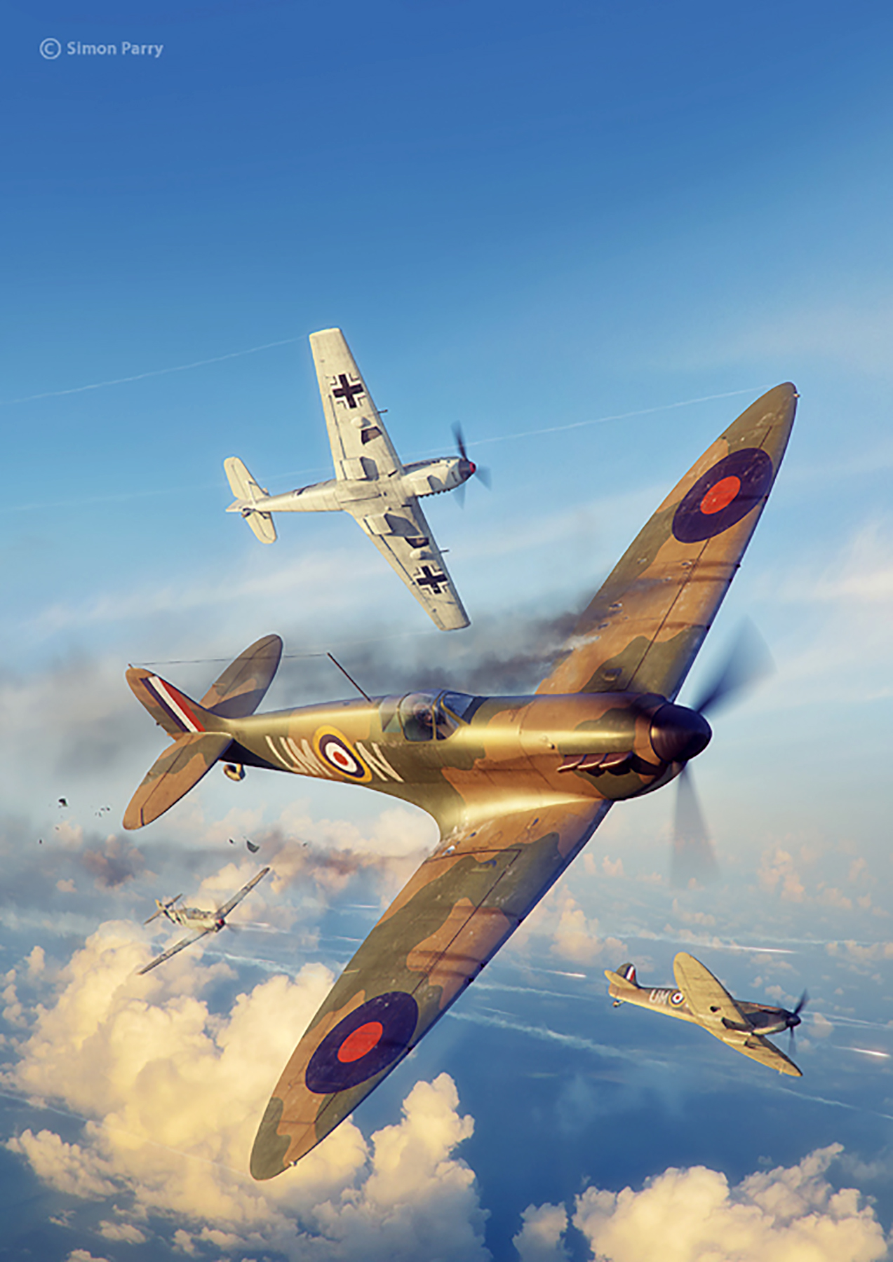 Spitfire MkI RAF 125Sqn UMN dog fight Battle of Britain painting by Simon Parry 0A