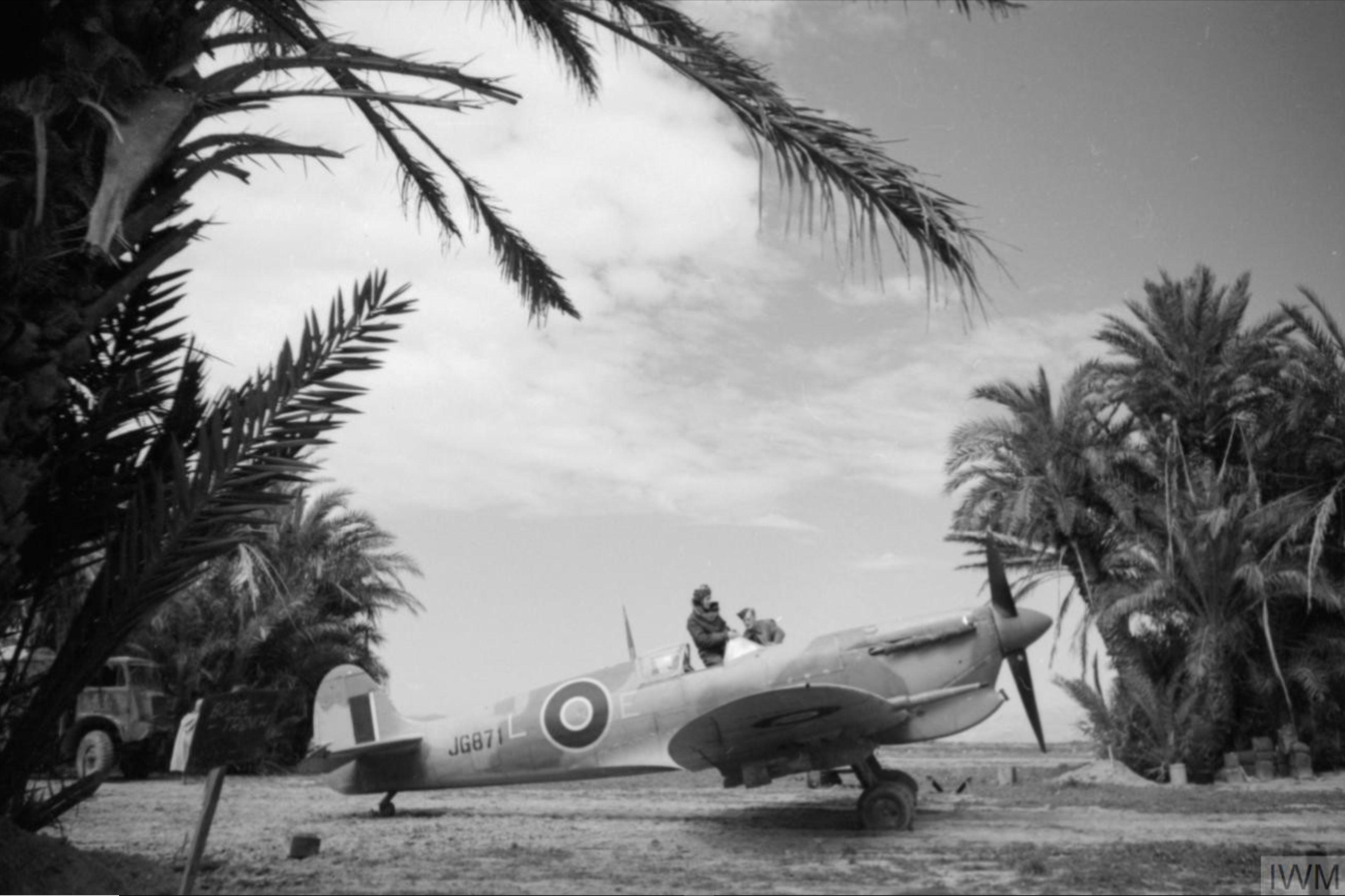 Spitfire MkVcTrop RAF 152qn LE JG871 dispersal area at Souk el Khemis Tunisia 1943 IWM CNA2272