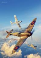 Asisbiz Spitfire MkI RAF 125Sqn UMN dog fight Battle of Britain painting by Simon Parry 0A