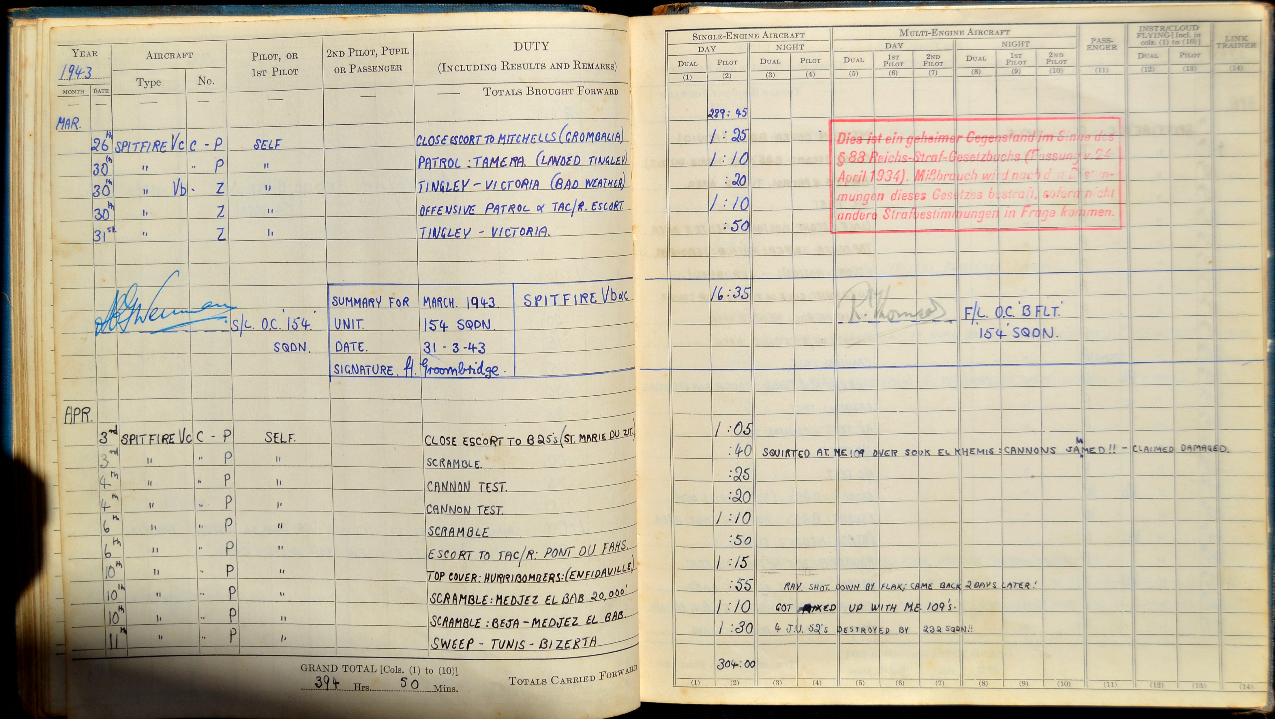 Aircrew RAF 154Sqn FSgt Harold Groombridge pilots log book whilst in North Africa Apr 1943 0A