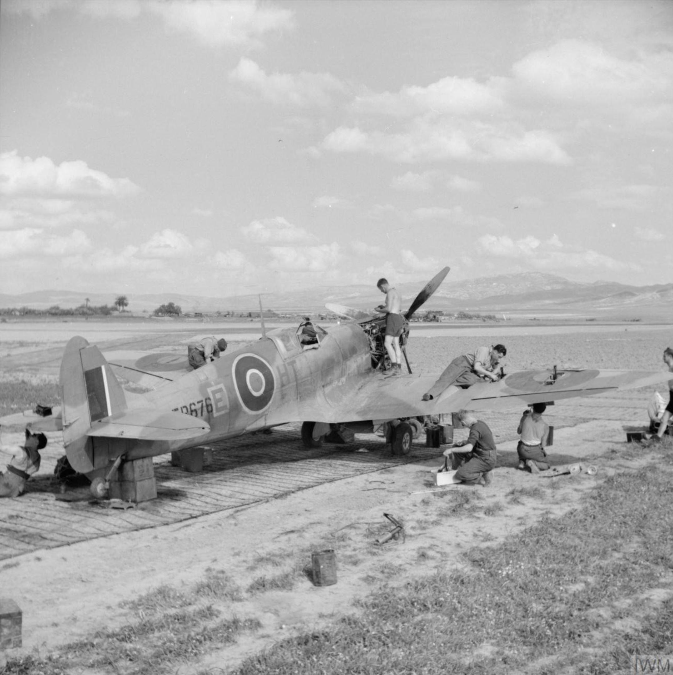 Spitfire MkVbTrop RAF 154Sqn HTE ER676 at Souk el Khemis Tunisia IWM CNA602