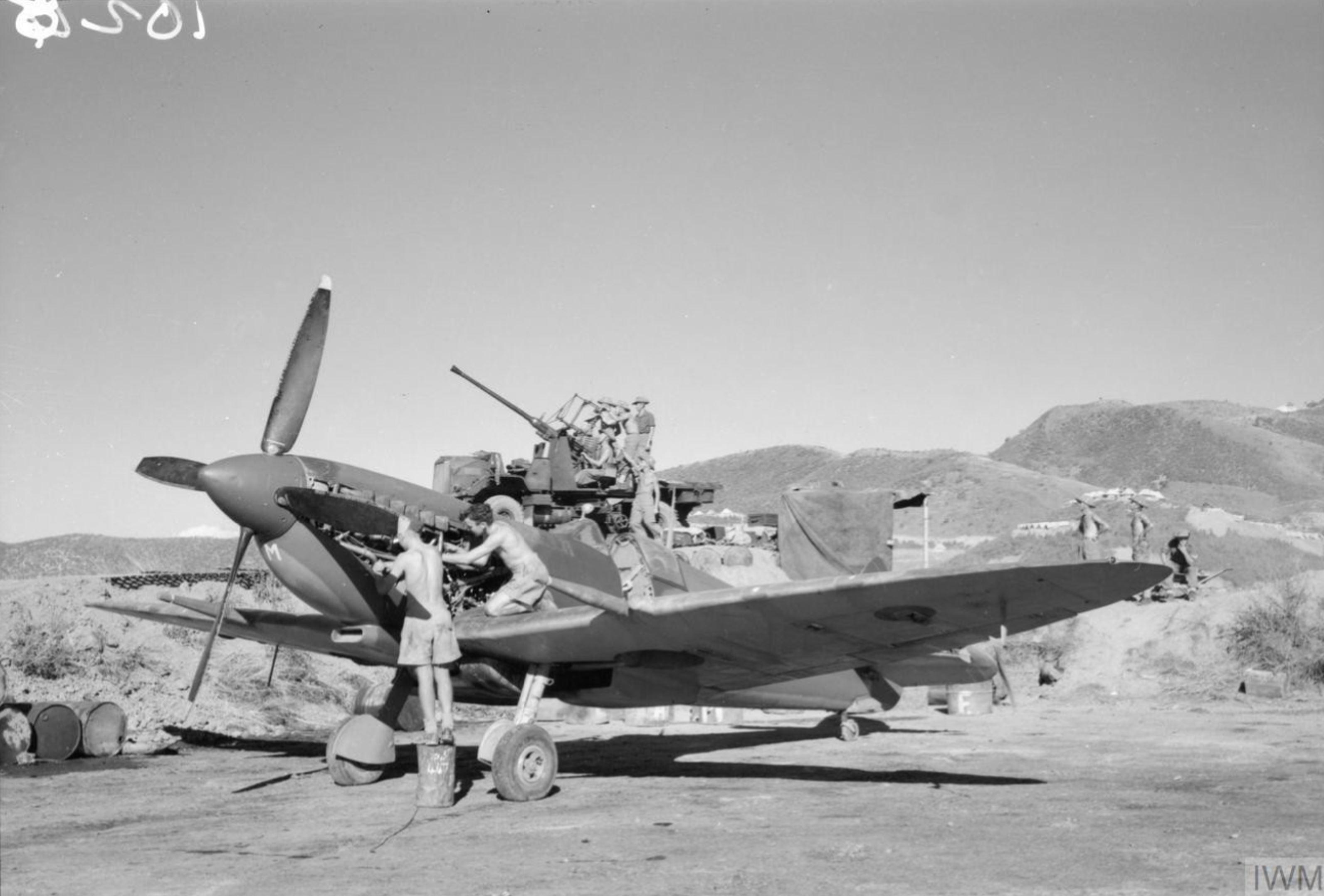 Spitfire MkVIII RAF 17Sqn YBM at Sapam Burma IWM CF200