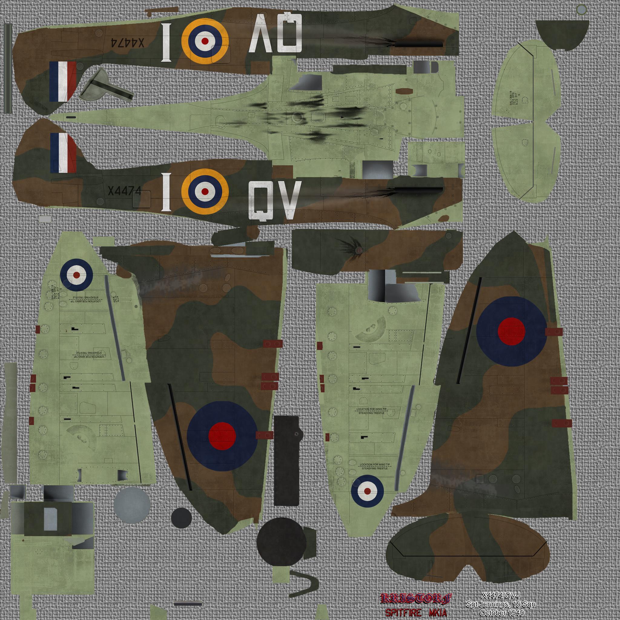 COD KF MkIa RAF 19Sqn QVI Sgt Jennings X4474 Fowlemere Sep 1940