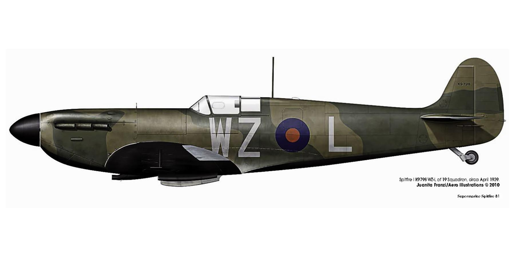 Spitfire MkI RAF 19Sqn WZL K9798 England April 1939 0A
