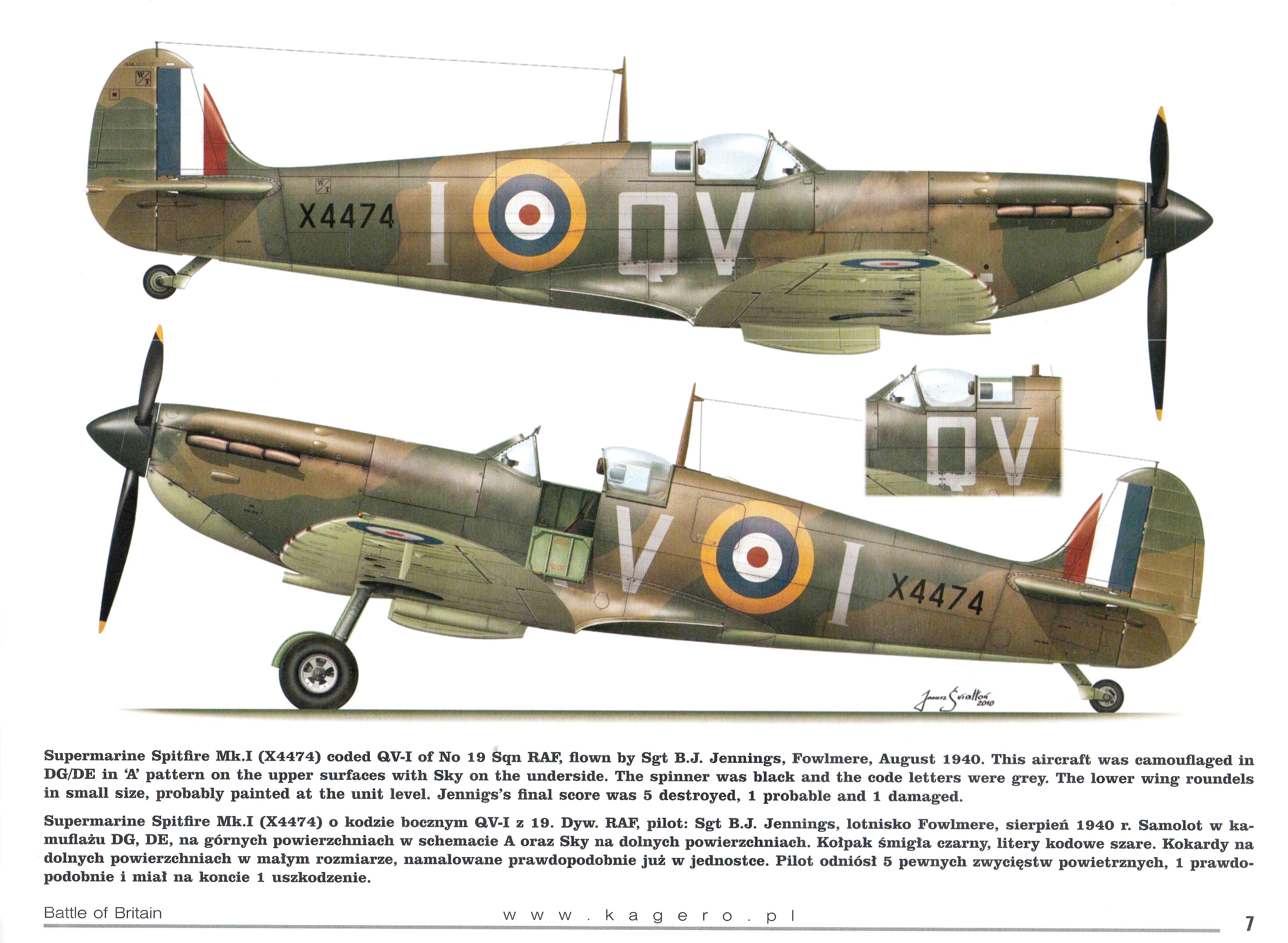 Spitfire MkIa RAF 19Sqn QVI BJ Jennings X4474 TC15016 Battle of Britain Page 06