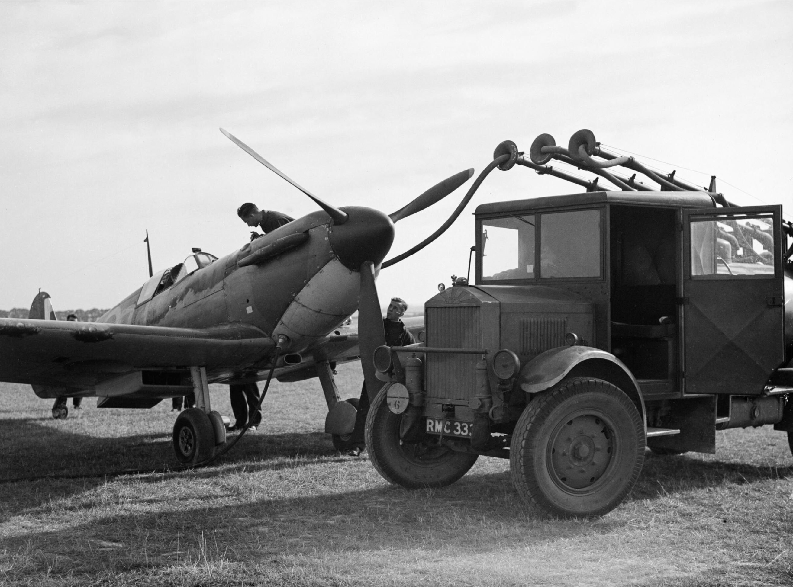 Spitfire MkIa RAF 19Sqn being refueled at Fowlmere during the Battle of Britain Sep 1940 IWM HU1372