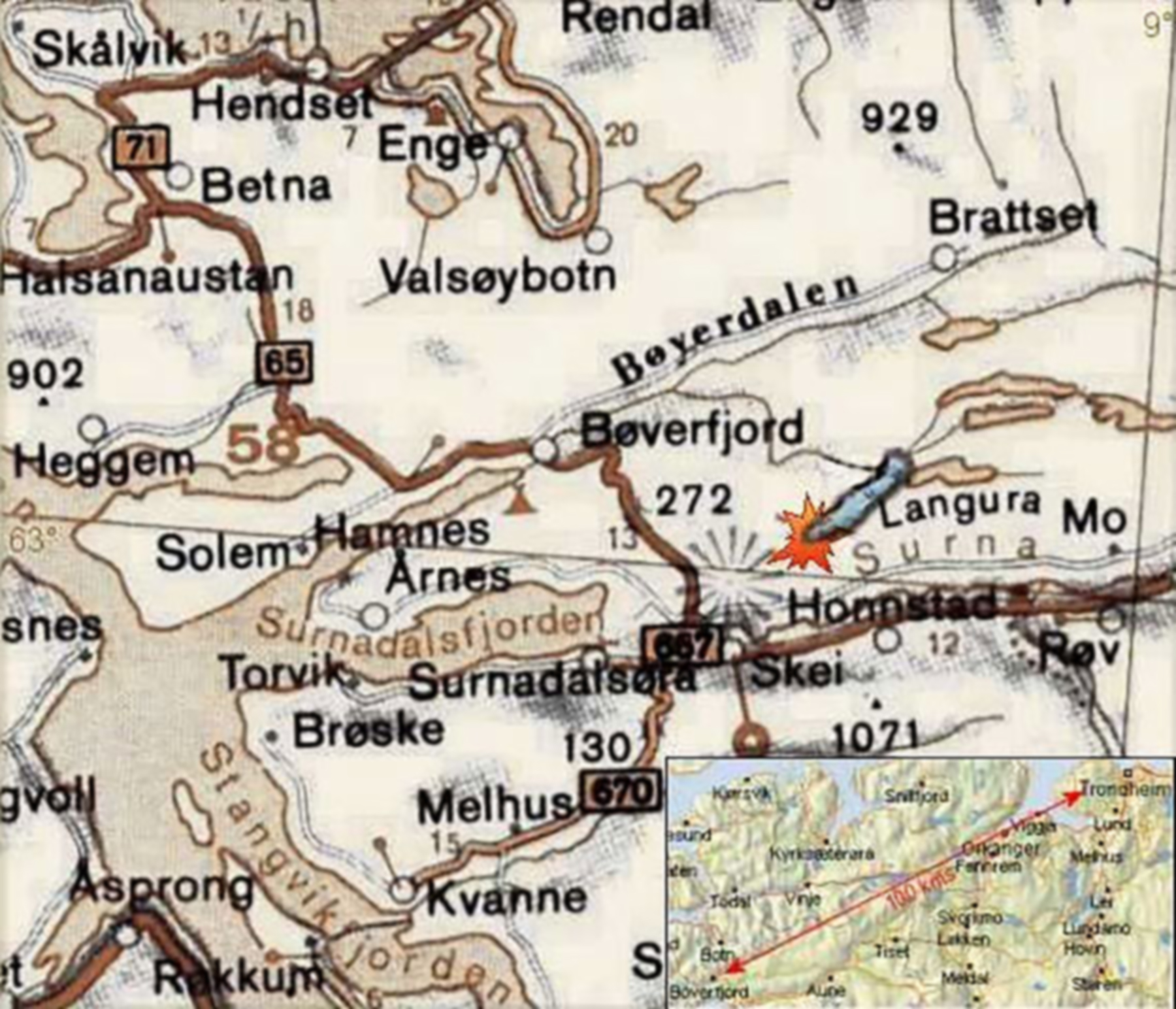 Artwork showing a map of crashsite PRIV RAF 1PRU LY Alistair Gunn AA810 Norway 1942 0A