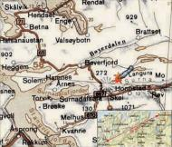 Asisbiz Artwork showing a map of crashsite PRIV RAF 1PRU LY Alistair Gunn AA810 Norway 1942 0A